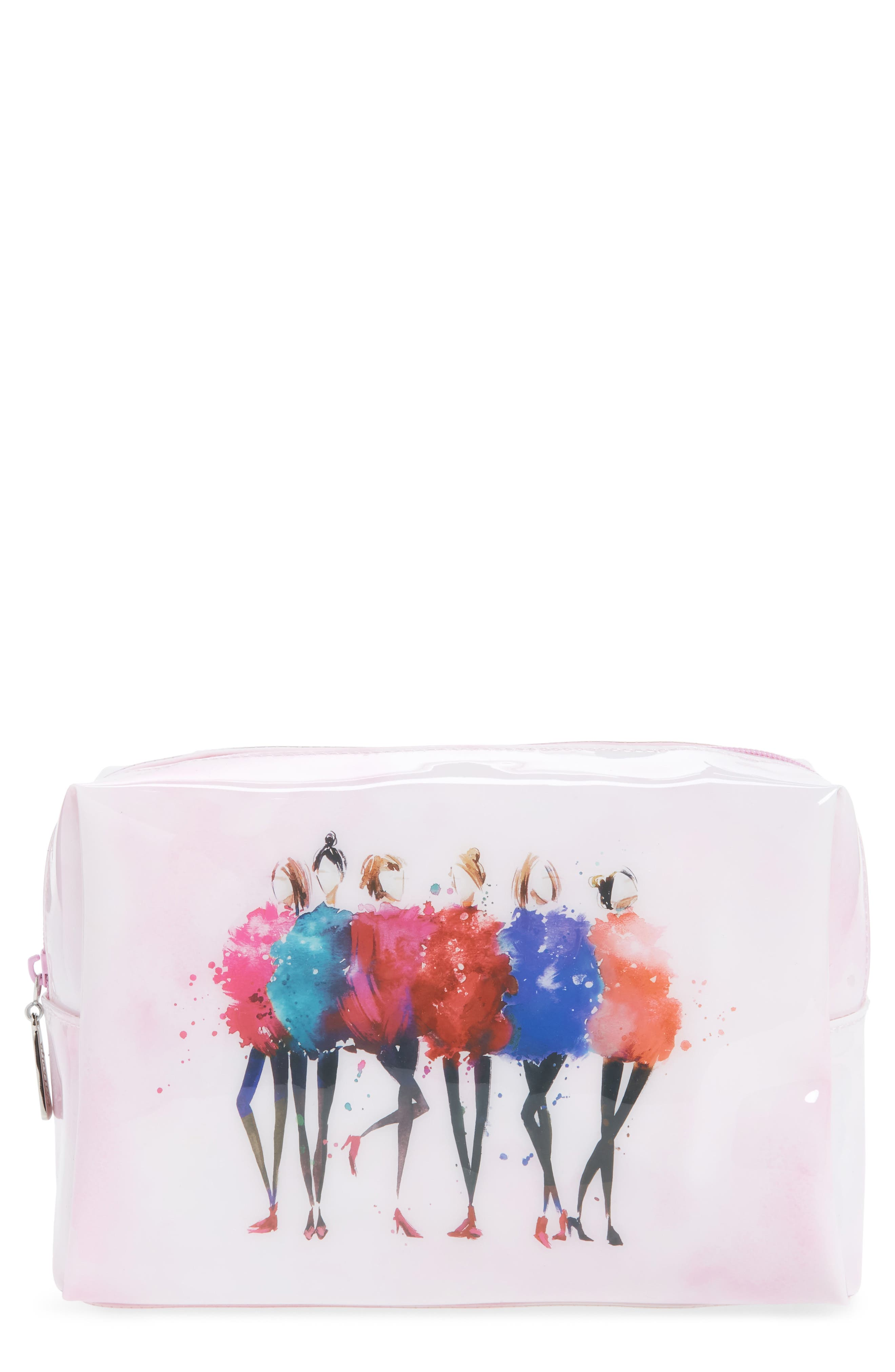 Watercolor Women Large Cosmetics Case,                         Main,                         color, Pink