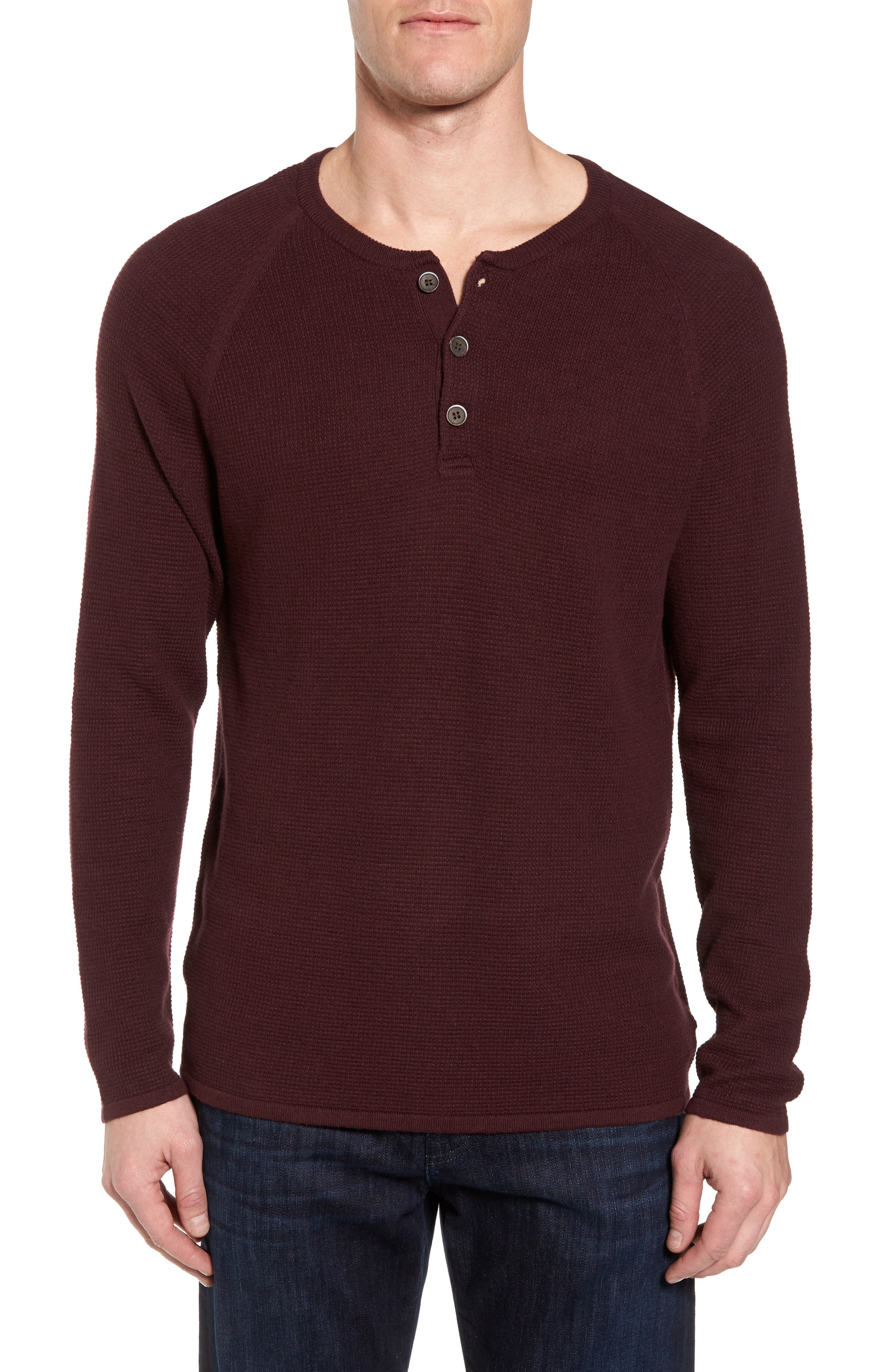 Waffle Knit Henley Sweater,                         Main,                         color, Raspberry Fudge