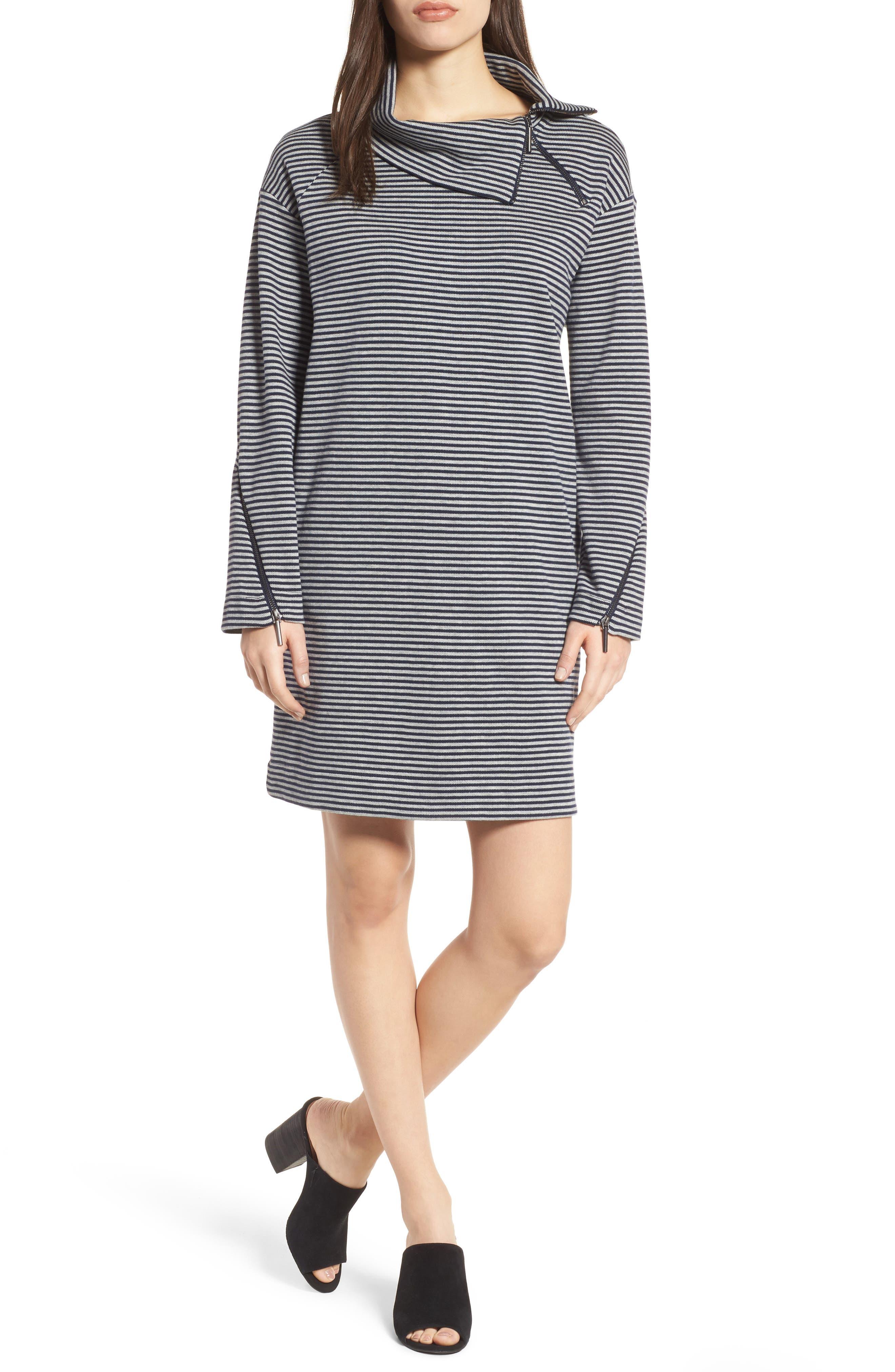Funnel Zip Neck Dress,                         Main,                         color, Rep Stripe-Indigo