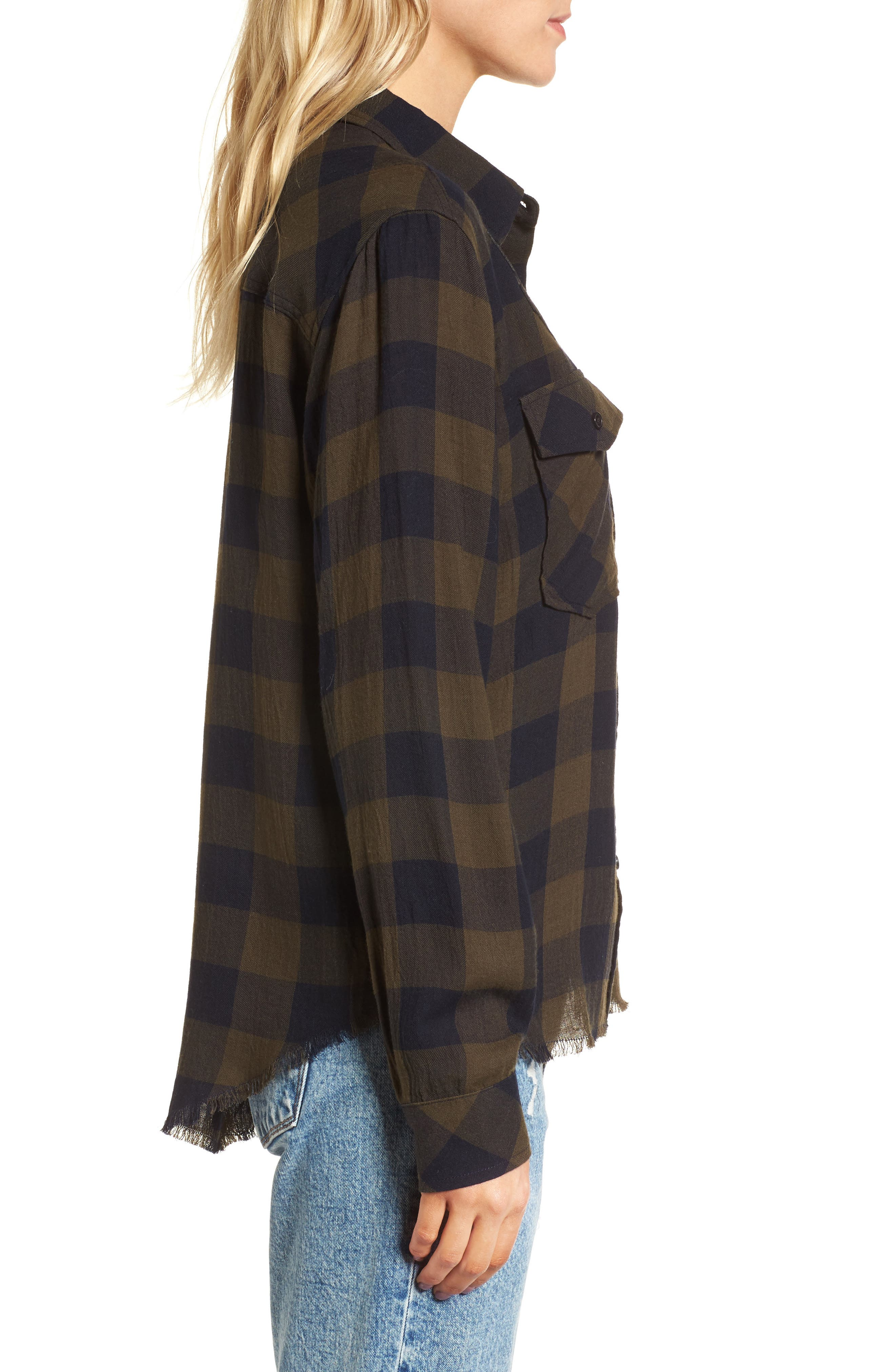 Pepper Boyfriend Shirt,                             Alternate thumbnail 3, color,                             Juniper/ Black