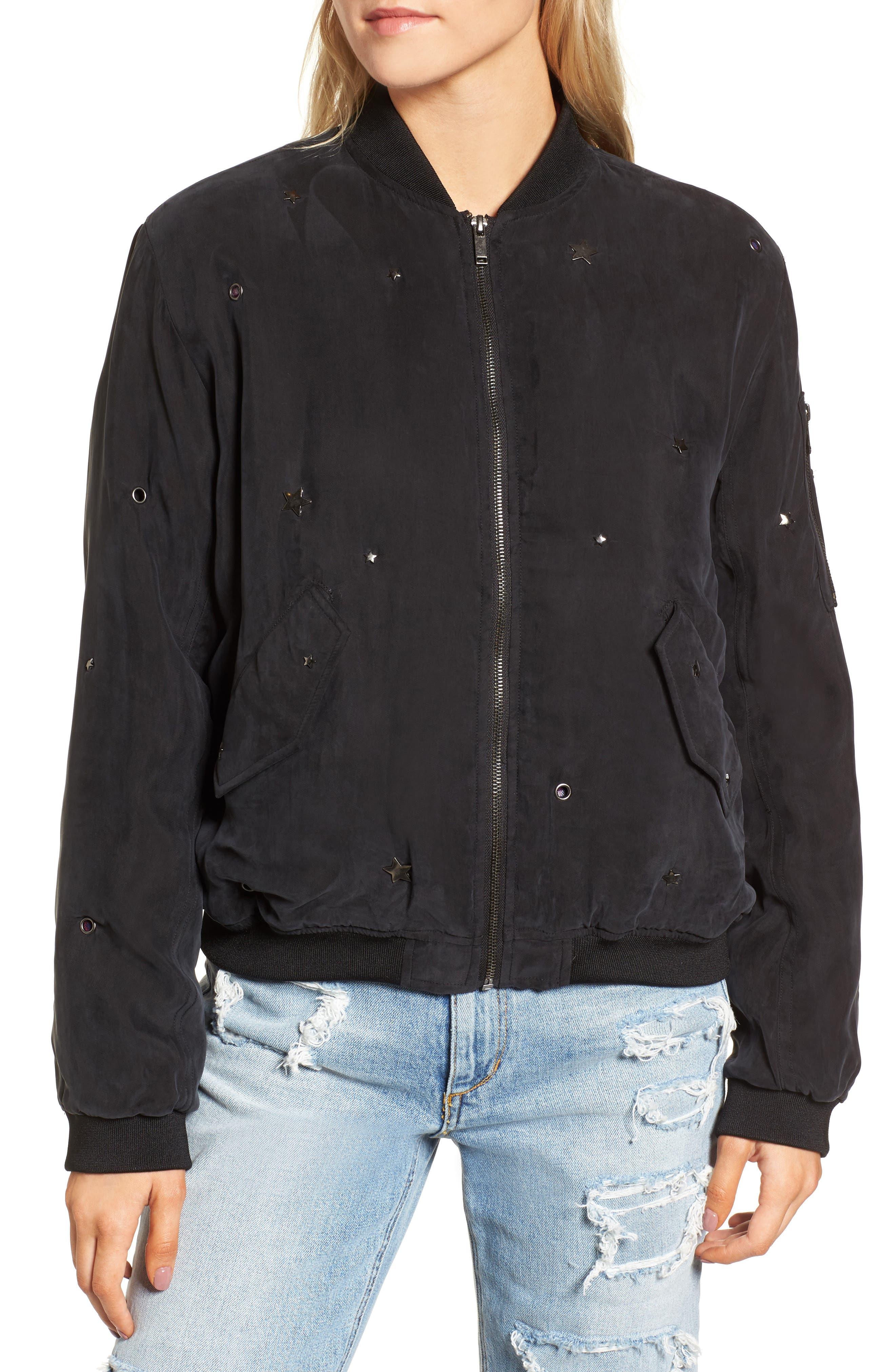Ace Embellished Bomber Jacket,                             Alternate thumbnail 4, color,                             Black-Studded