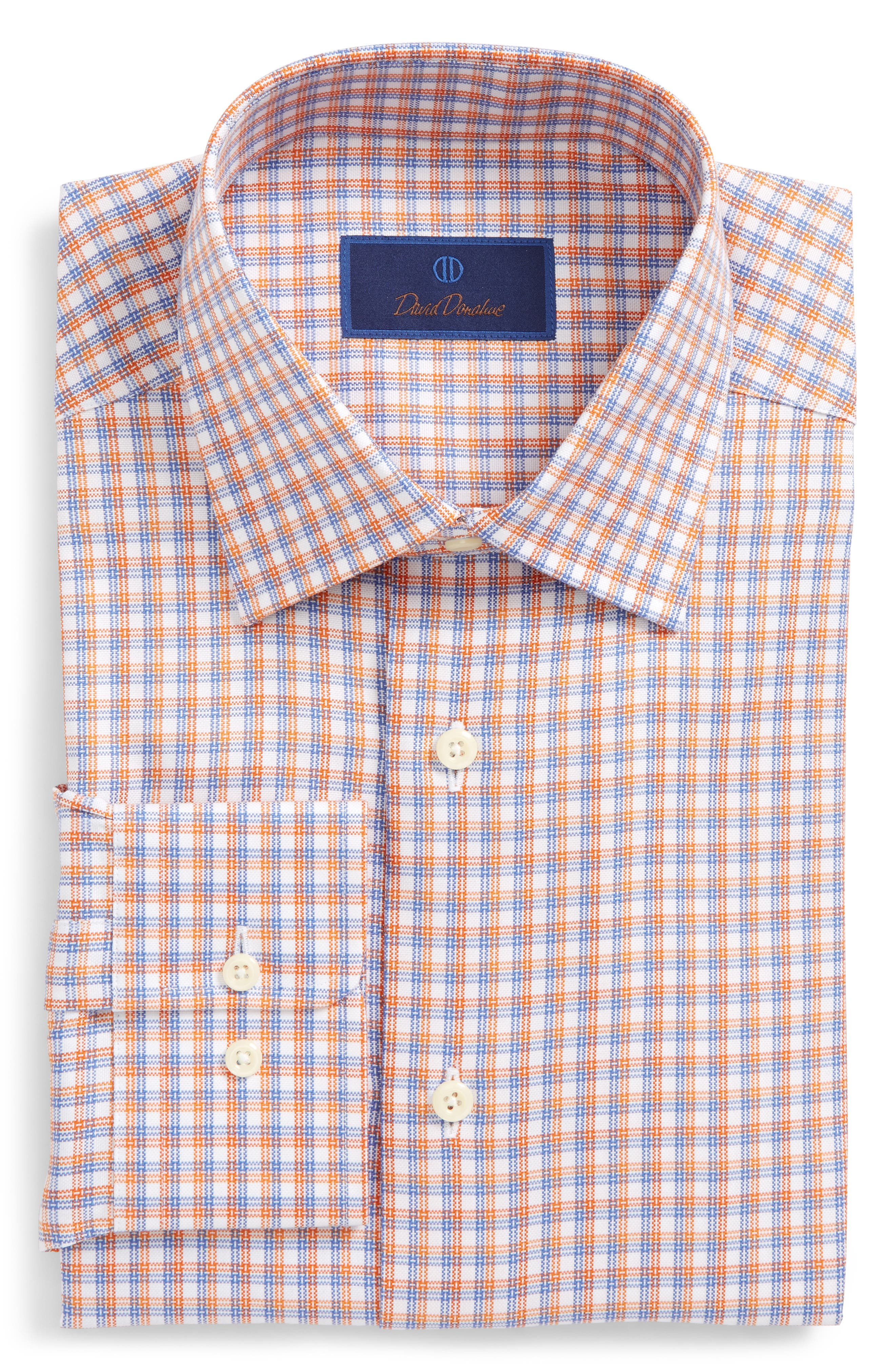 David Donahue Regular Fit Plaid Dress Shirt