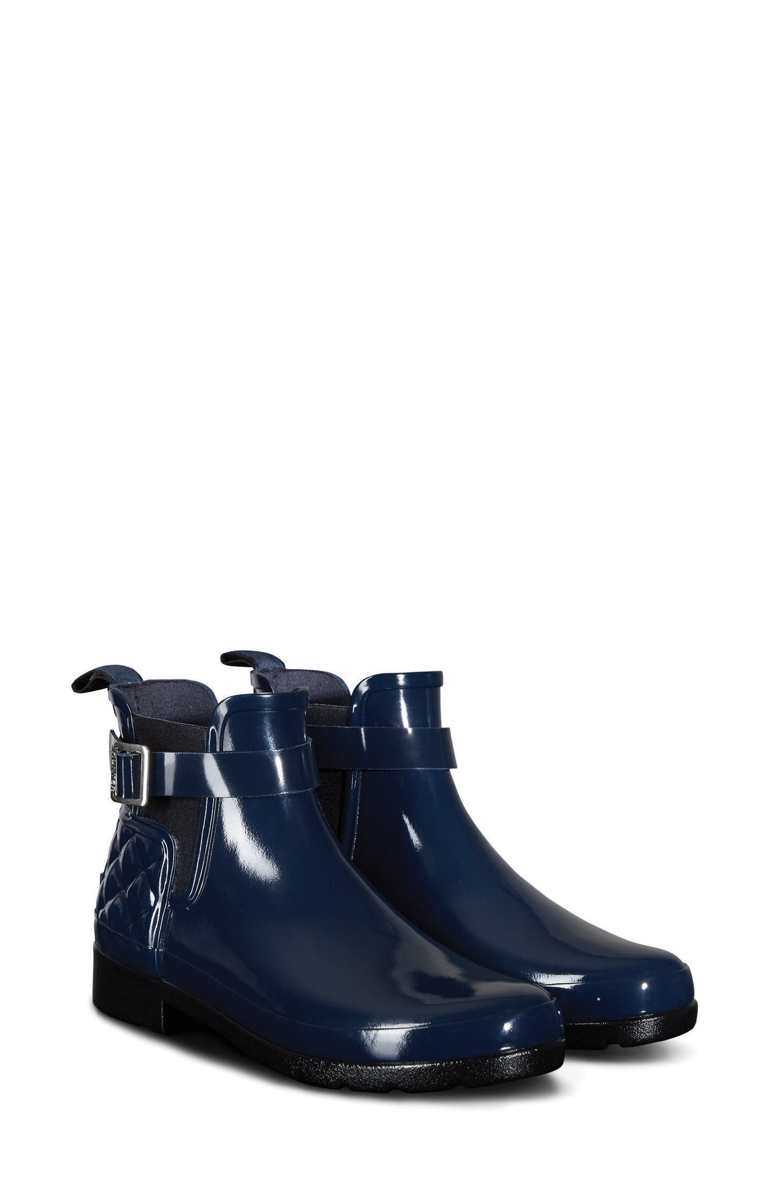 Original Refined Quilted Gloss Chelsea Boot,                         Main,                         color, Navy