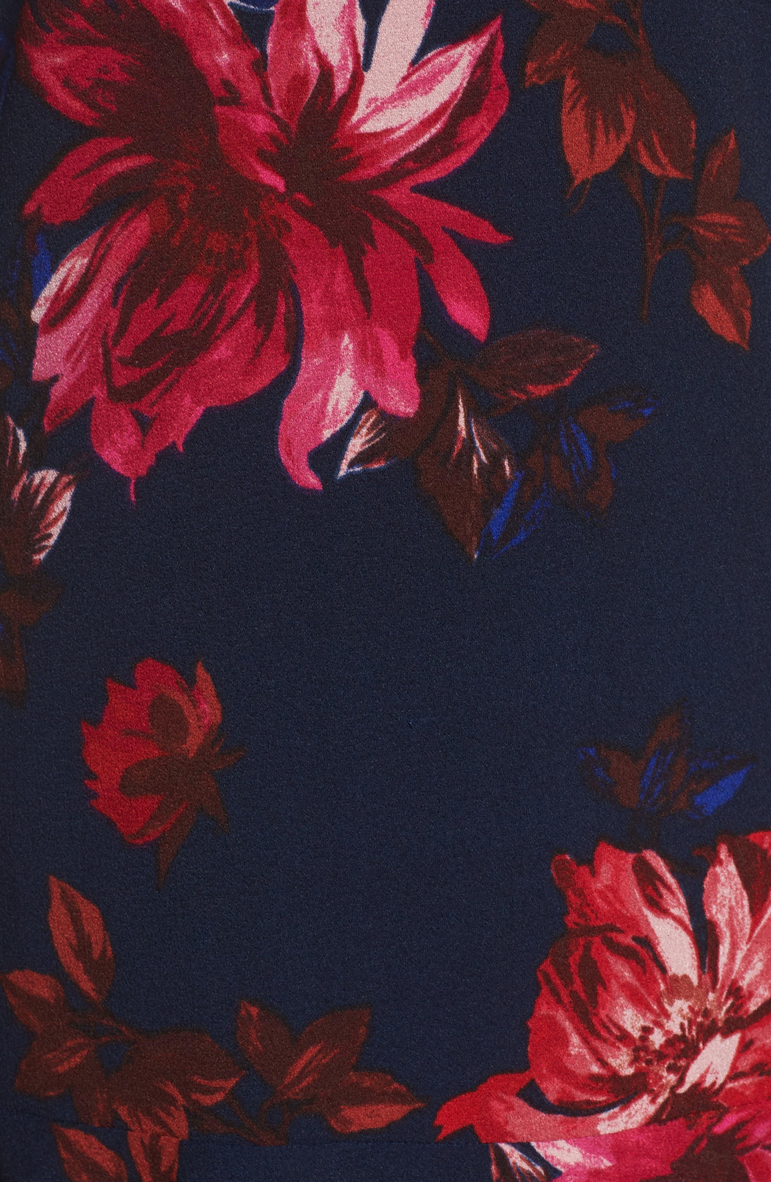 Floral Shift Dress,                             Alternate thumbnail 5, color,                             Navy Floral