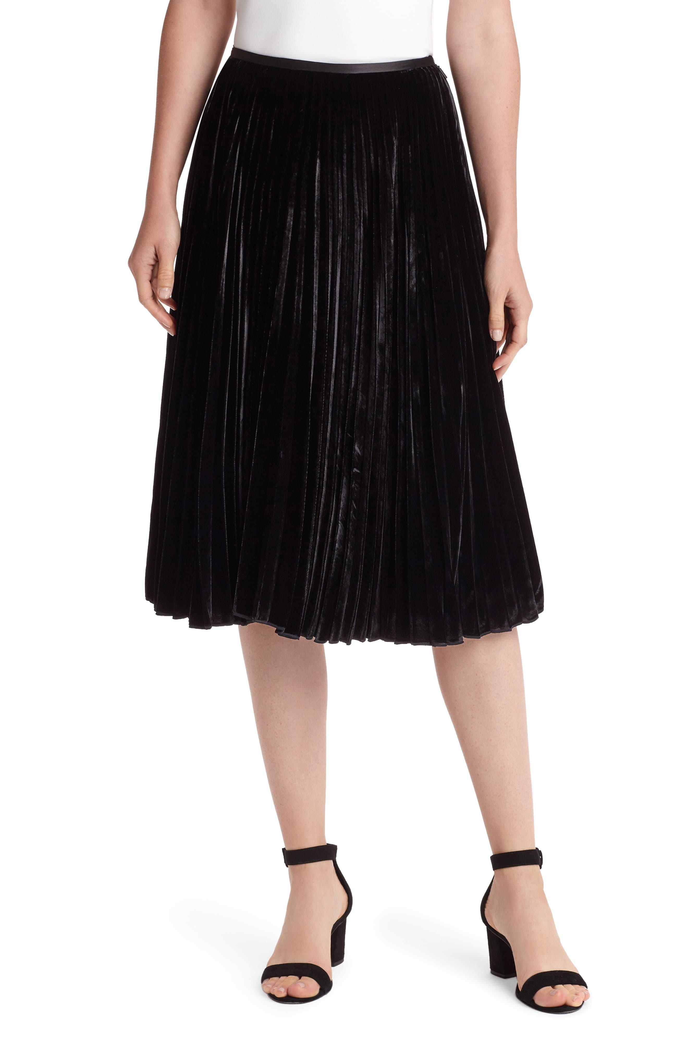 Ranella Velvet Skirt,                         Main,                         color, Black