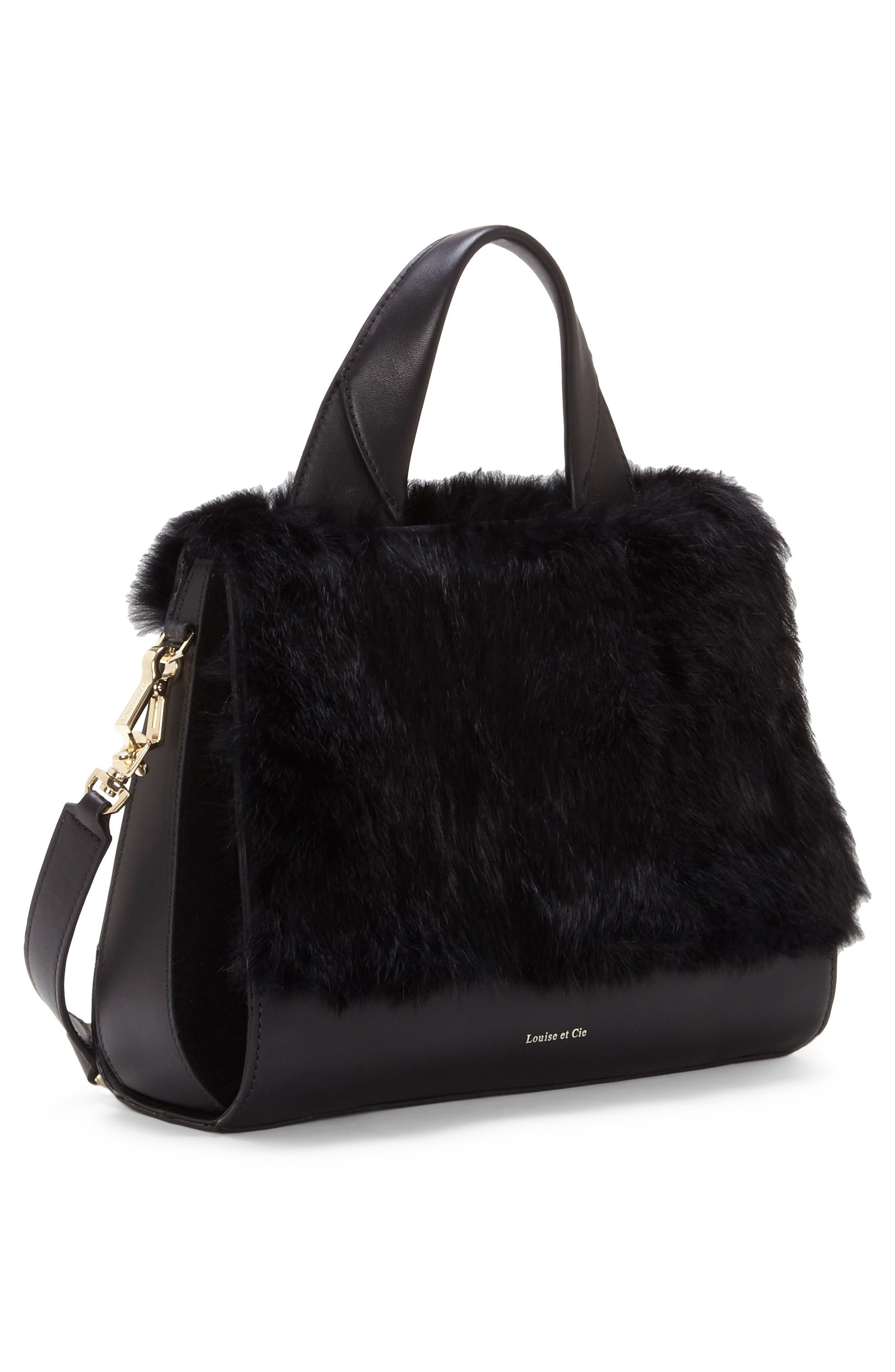 Tysse Leather & Genuine Rabbit Fur Satchel,                             Alternate thumbnail 4, color,                             Black