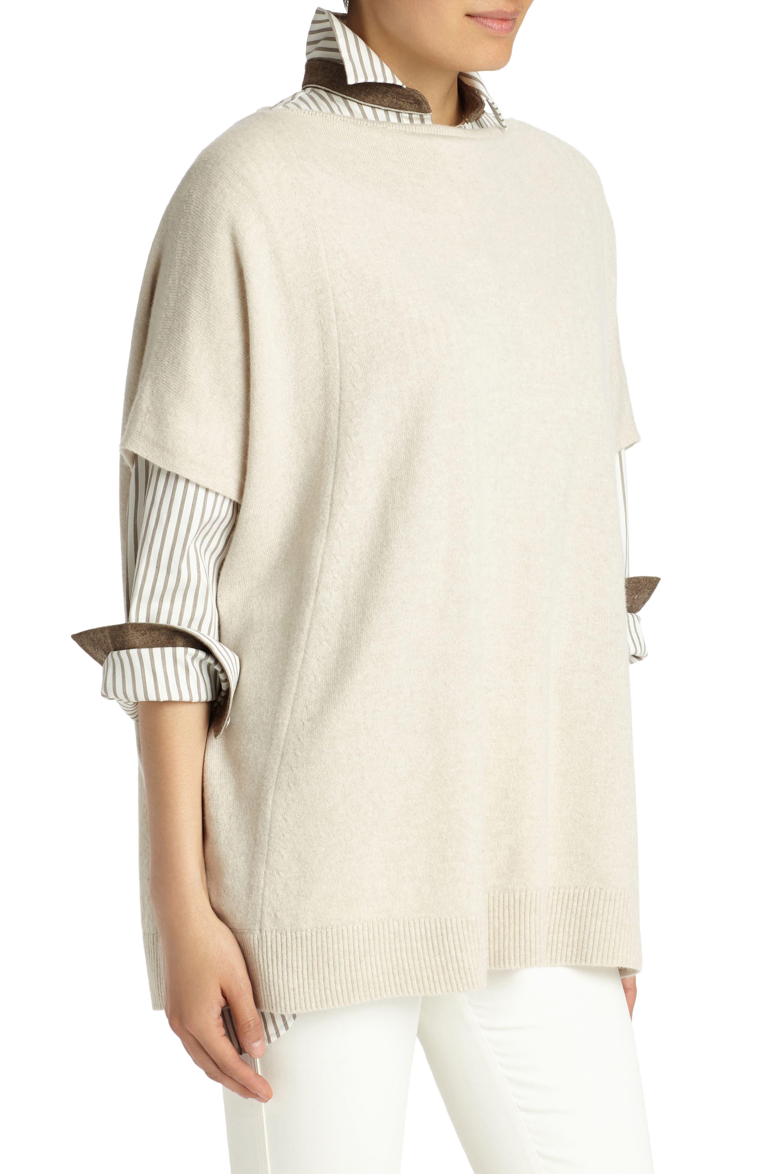 Cashmere Sweater,                             Alternate thumbnail 3, color,                             Oatmeal Melange