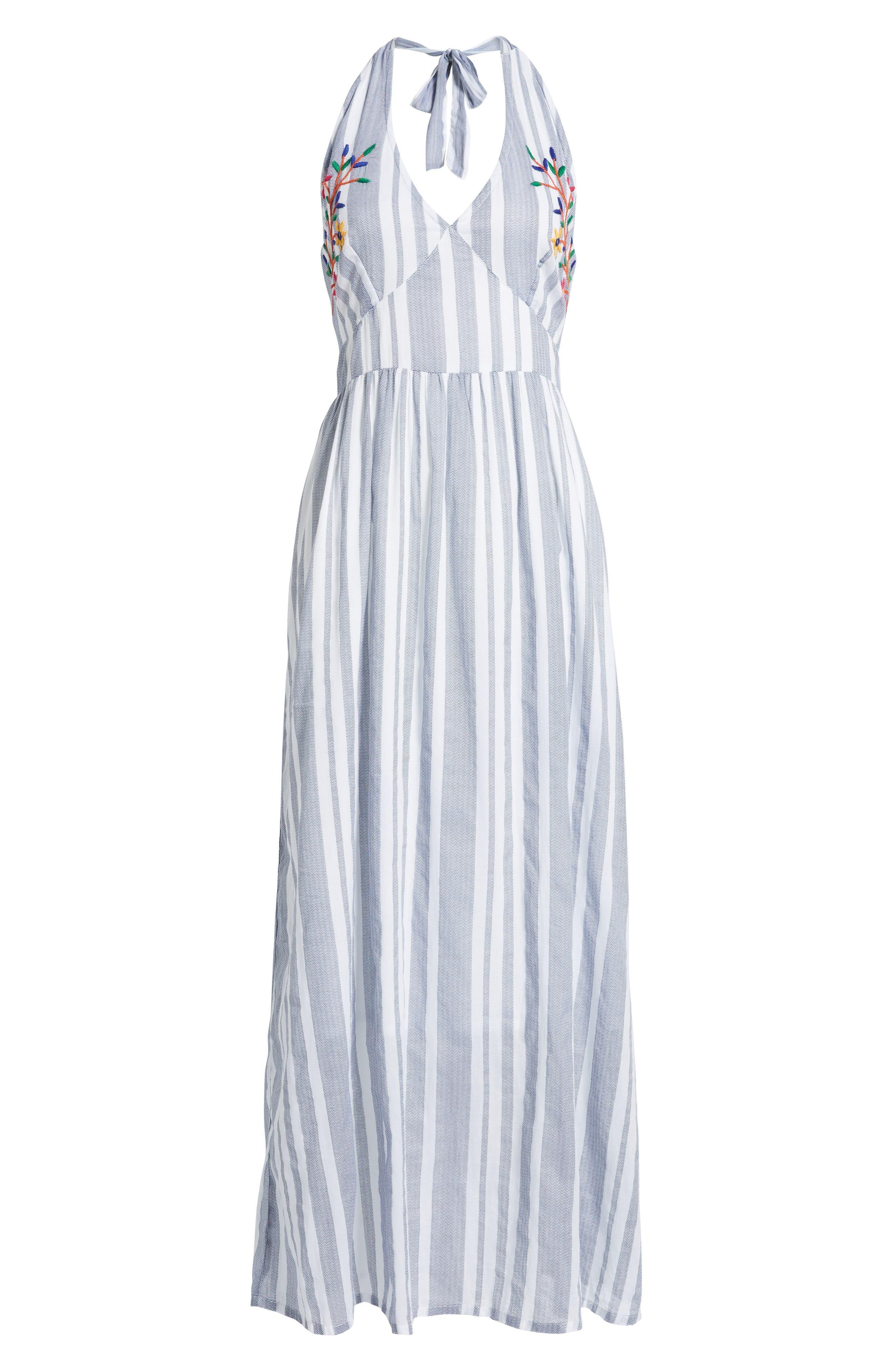 Setting Sail Stripe Maxi Dress,                             Alternate thumbnail 6, color,                             Blue/ White
