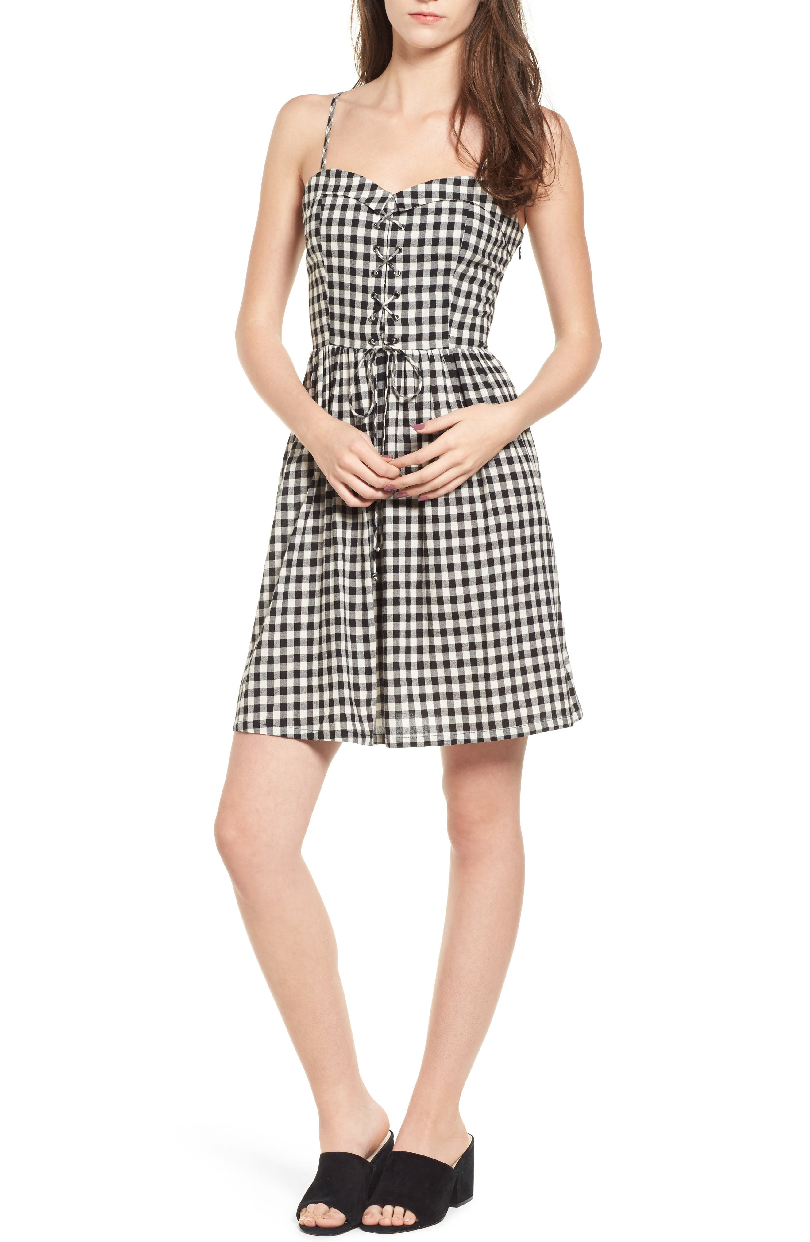 Lace-Up Gingham Dress,                             Main thumbnail 1, color,                             Black Gingham