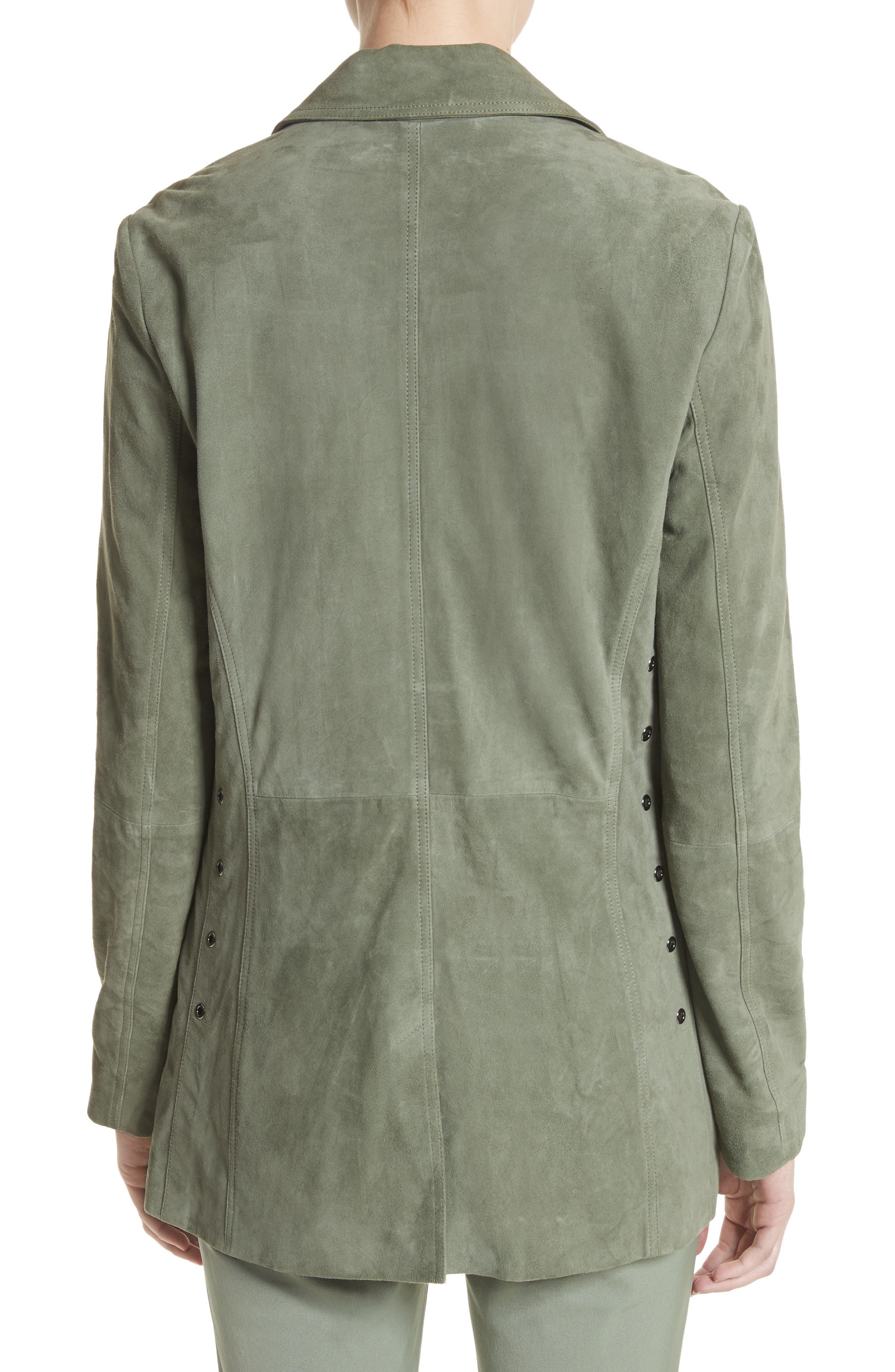 Suede Safari Jacket,                             Alternate thumbnail 2, color,                             Dark Mint
