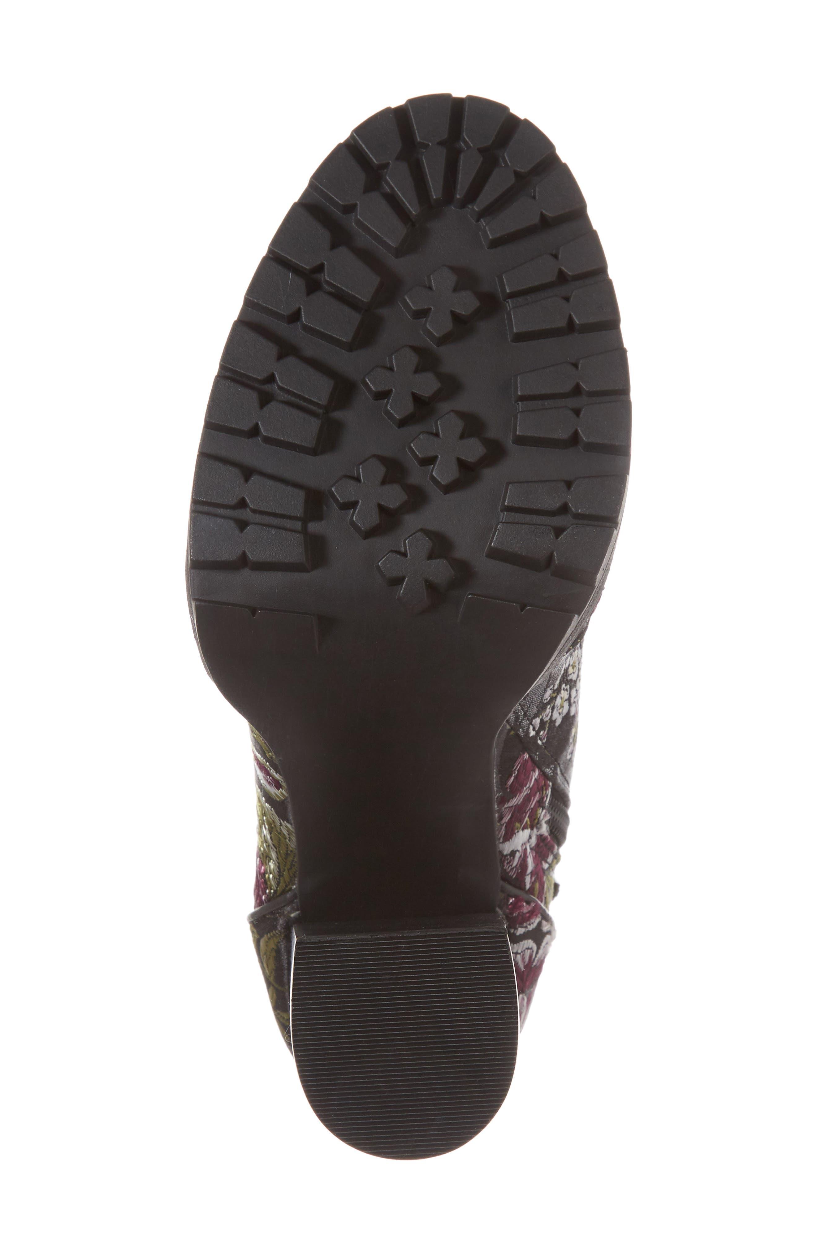 Laurie Platform Bootie,                             Alternate thumbnail 6, color,                             Black Floral Fabric