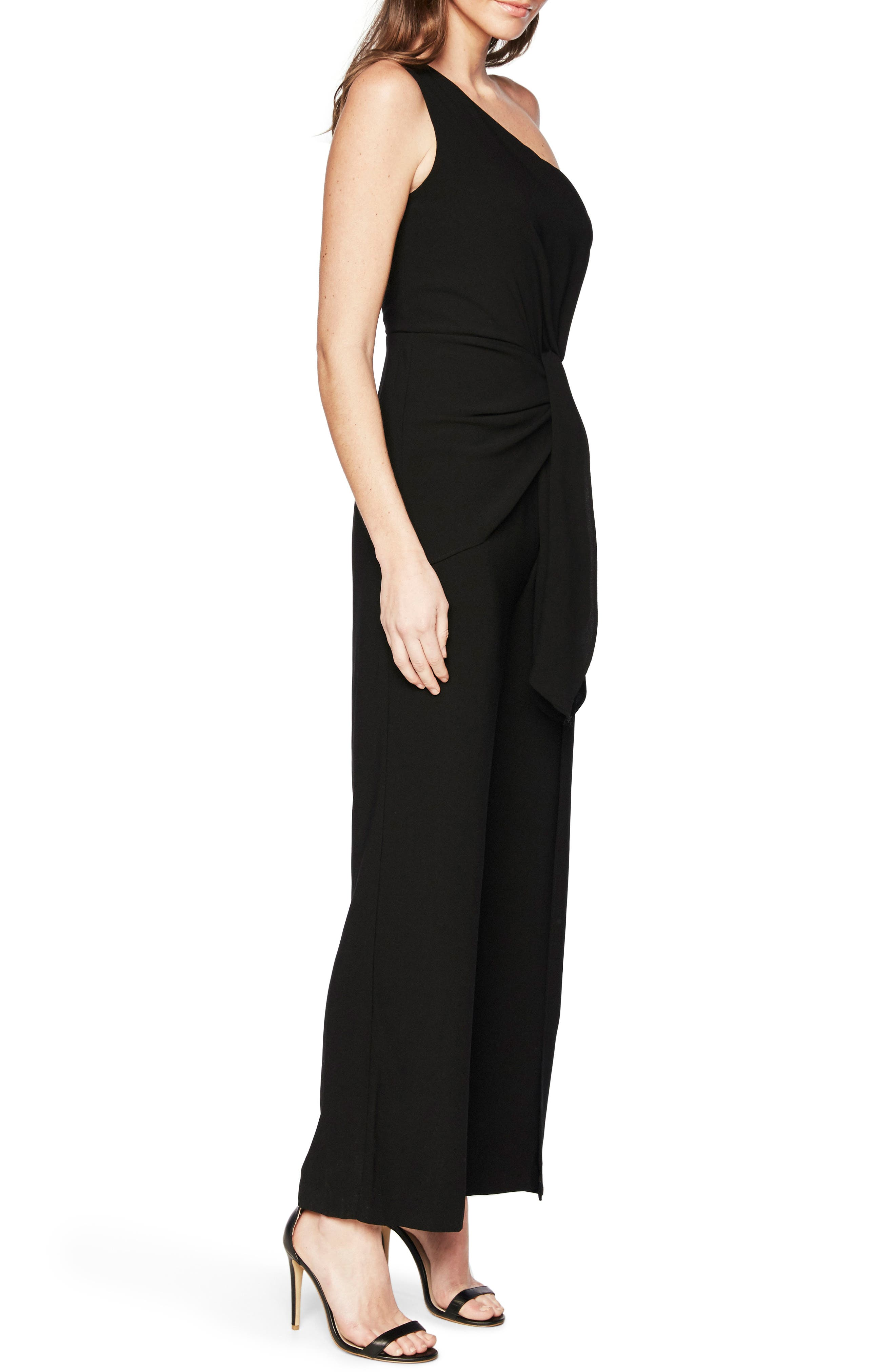Bellini One-Shoulder Jumpsuit,                             Alternate thumbnail 3, color,                             Black
