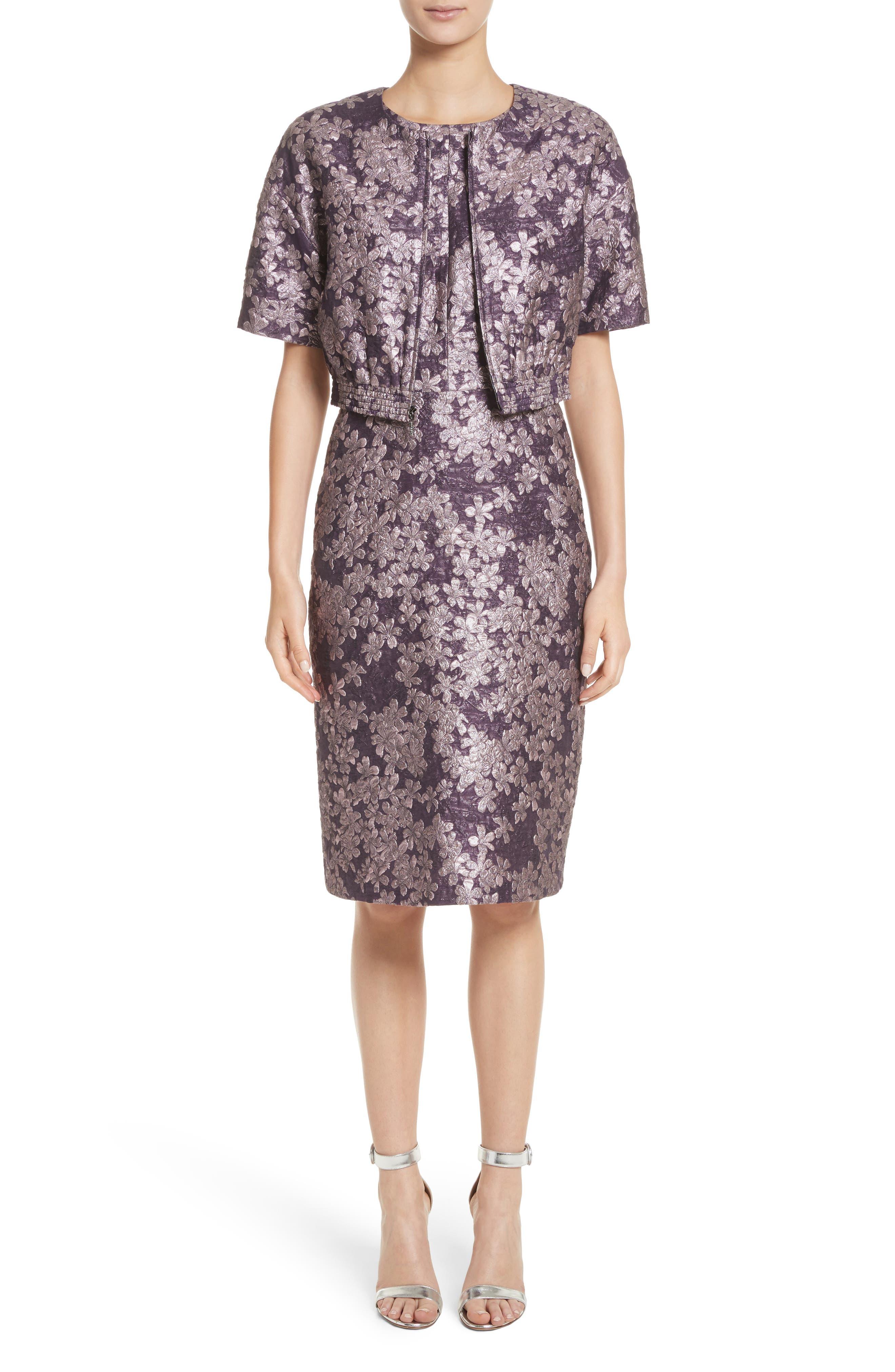 Metallic Floral Jacquard Dress,                             Alternate thumbnail 8, color,                             Orchid Multi