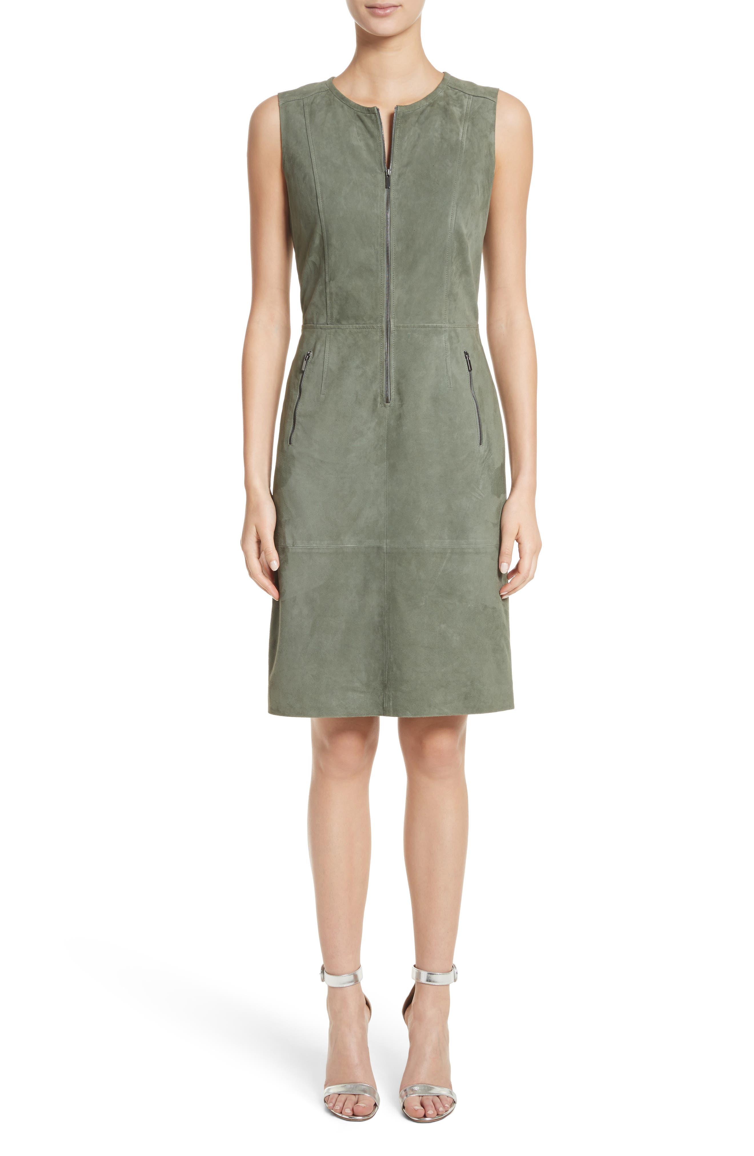 Suede Dress,                         Main,                         color, Dark Mint
