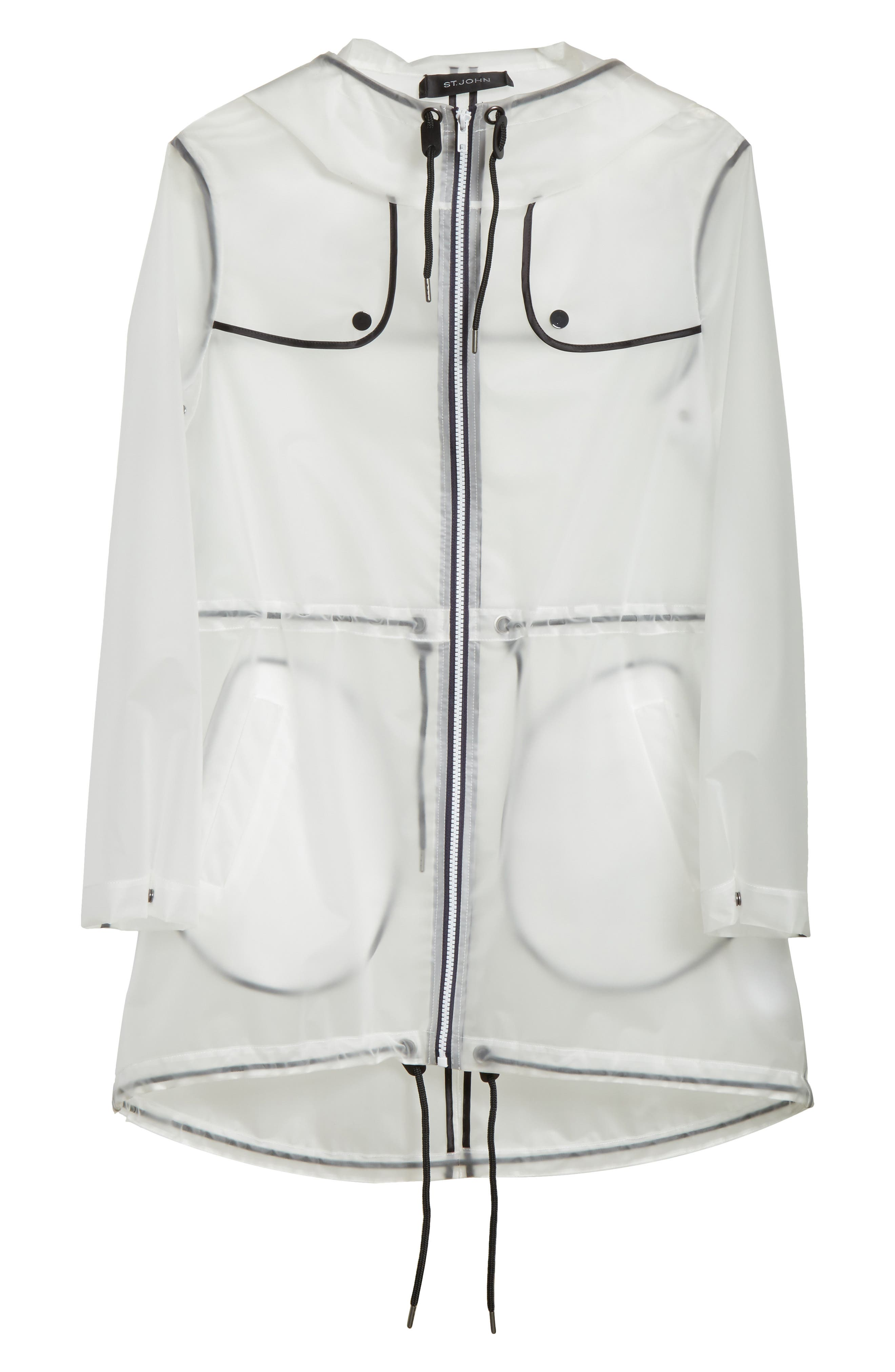 Clear Hooded Raincoat,                             Alternate thumbnail 6, color,                             White