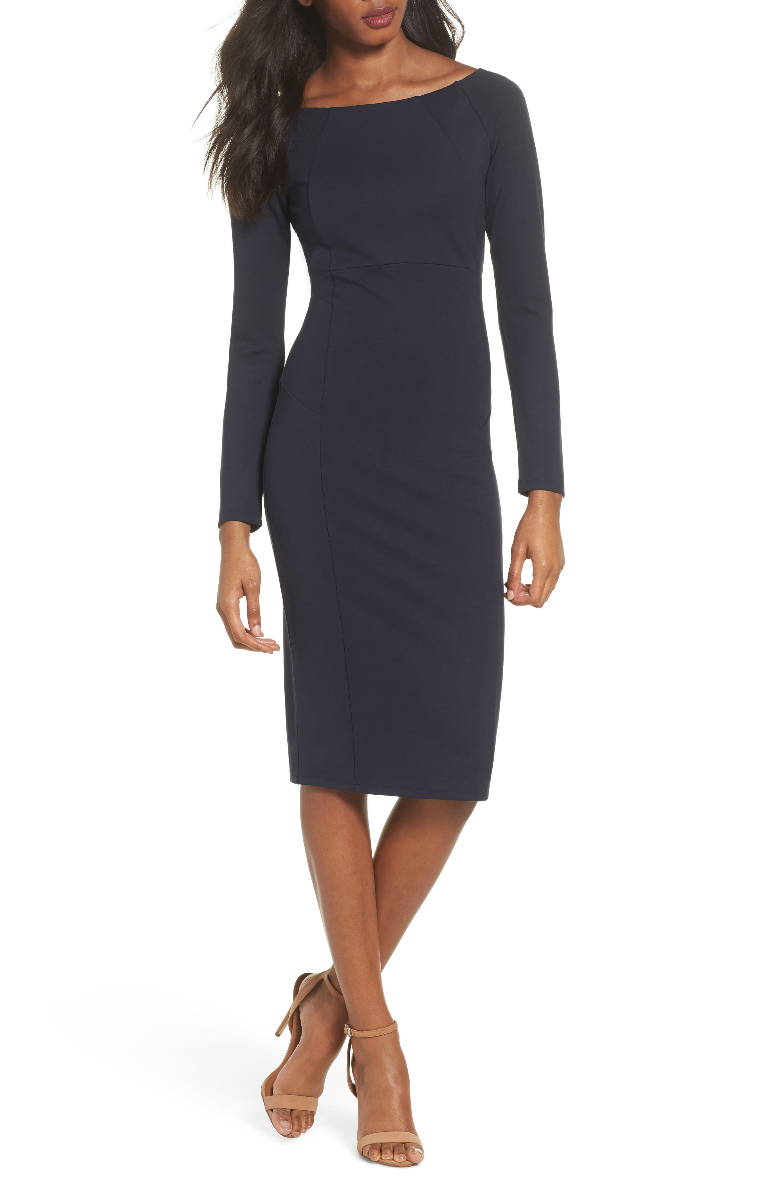 Maile Sheath Dress,                         Main,                         color, Navy