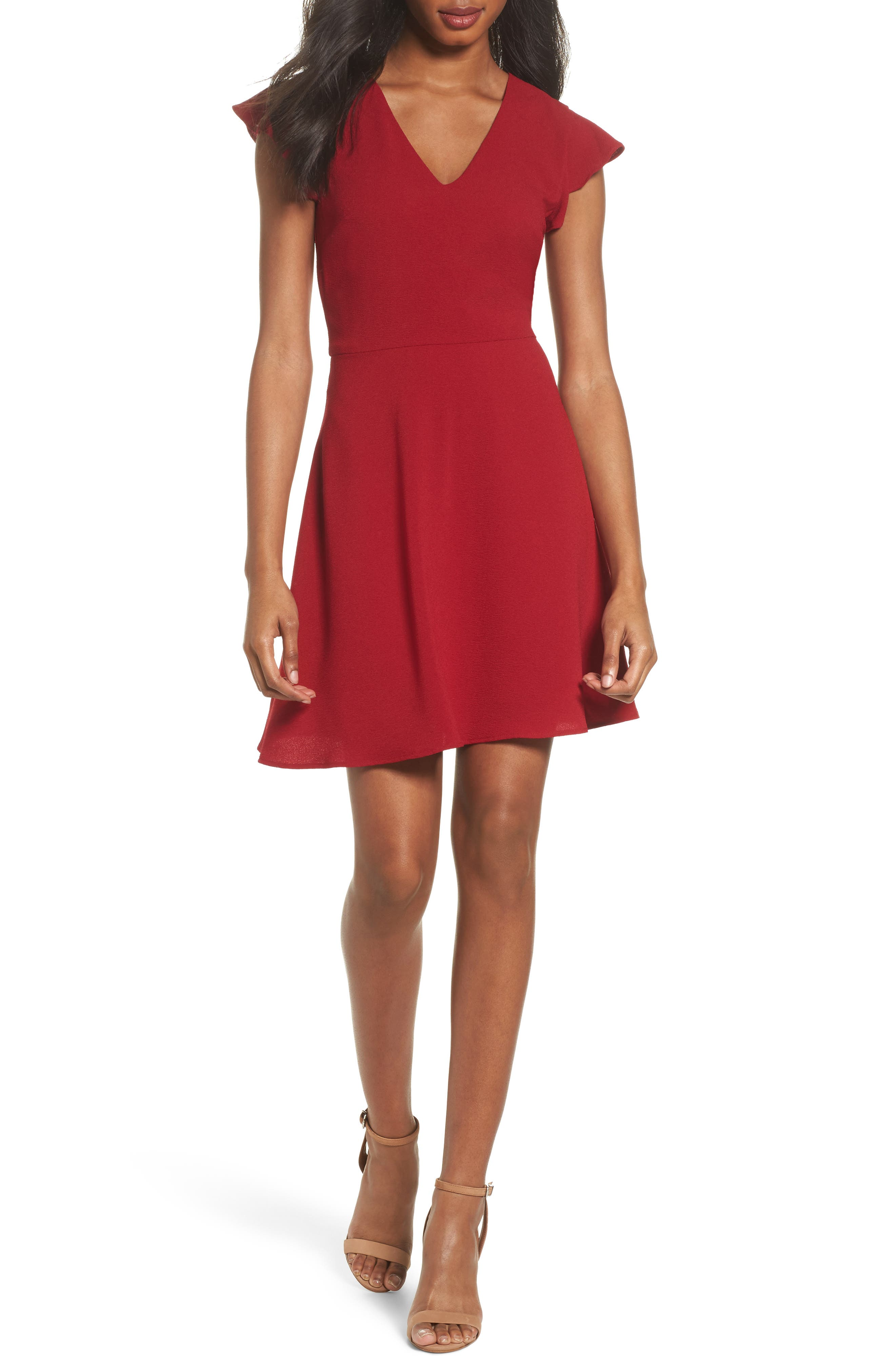 Fit & Flare Dress,                             Main thumbnail 1, color,                             Garnet