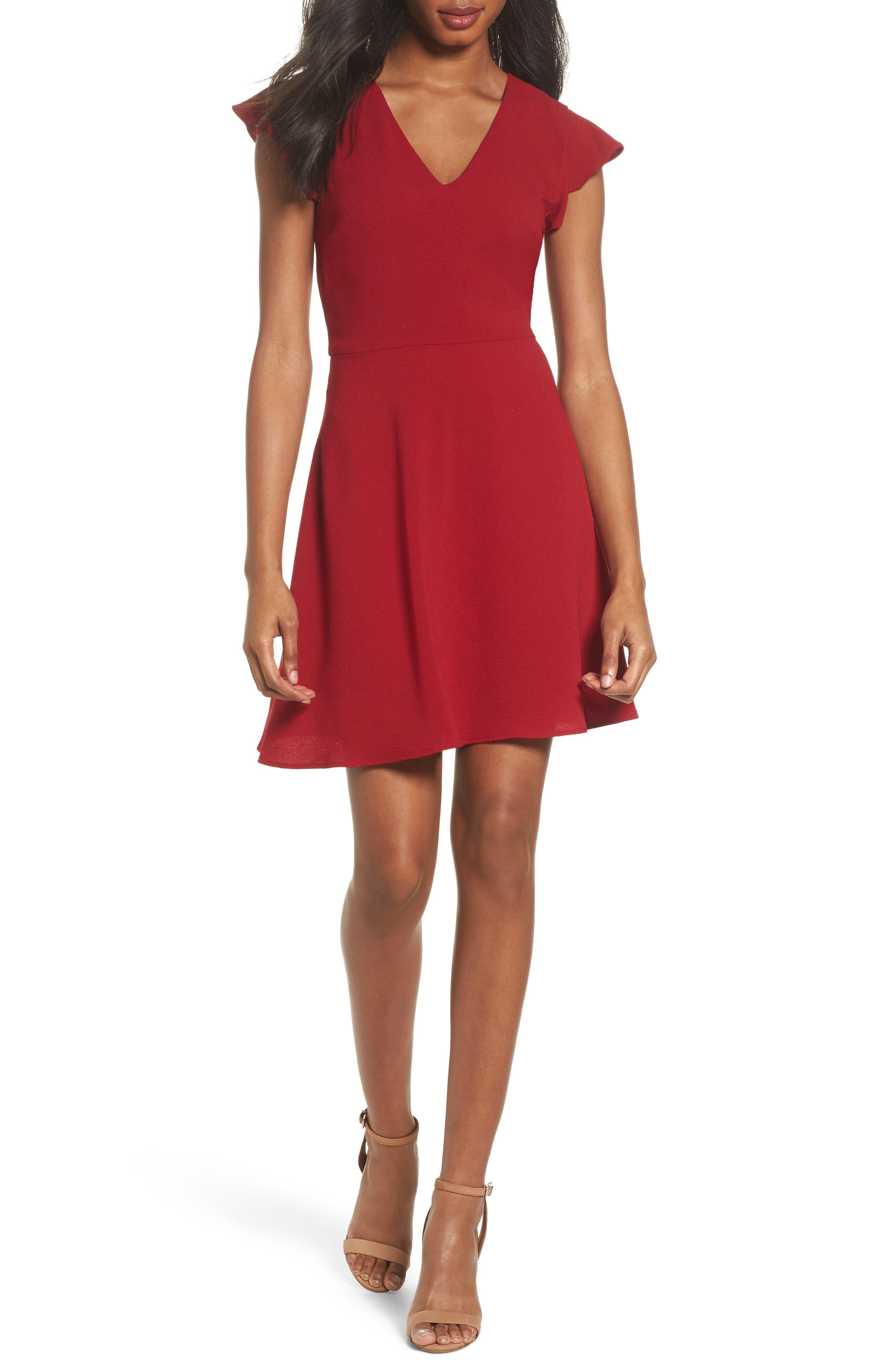 Fit & Flare Dress,                         Main,                         color, Garnet