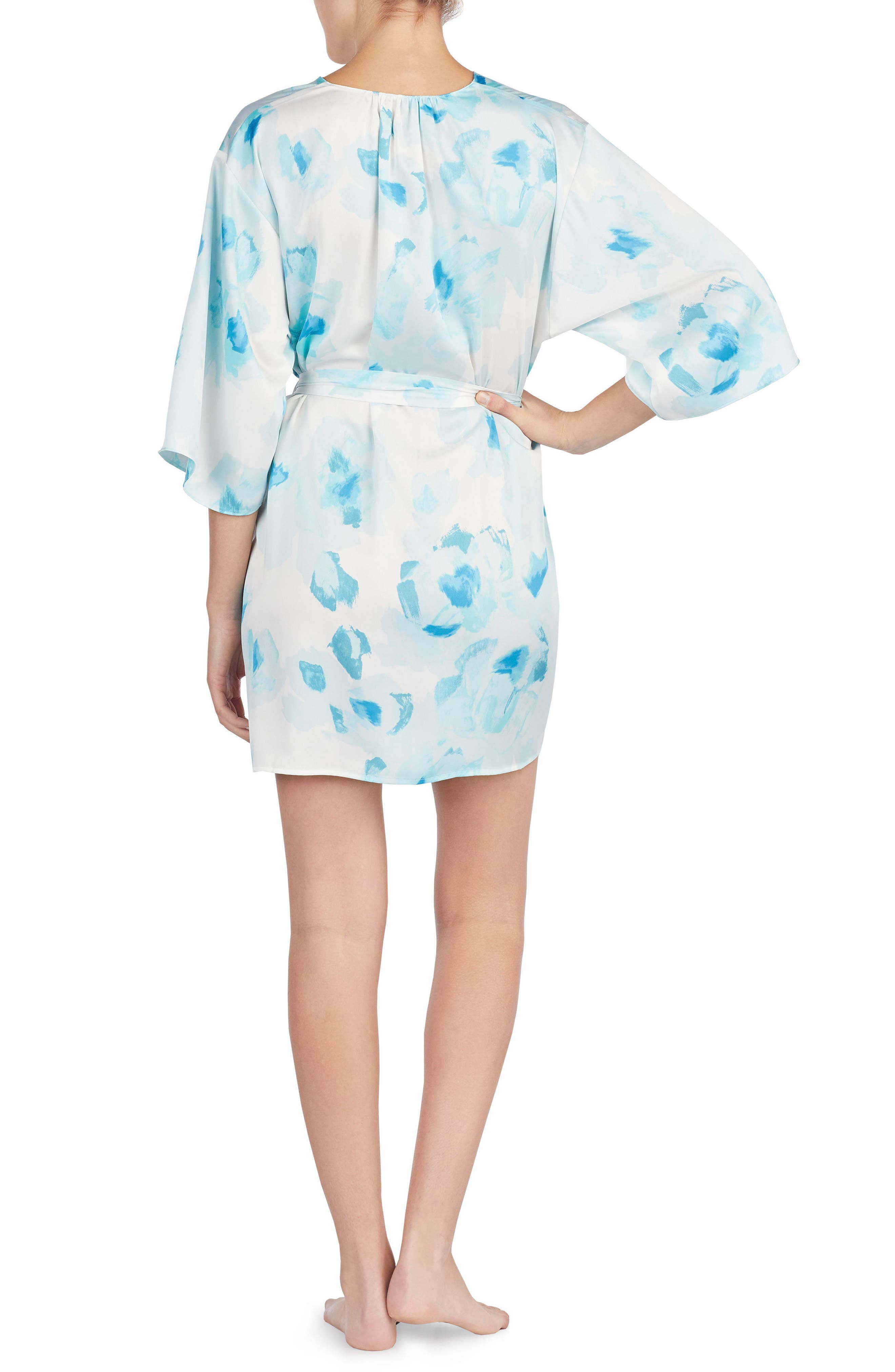 print charmeuse short robe,                             Alternate thumbnail 2, color,                             Moroccan Rose
