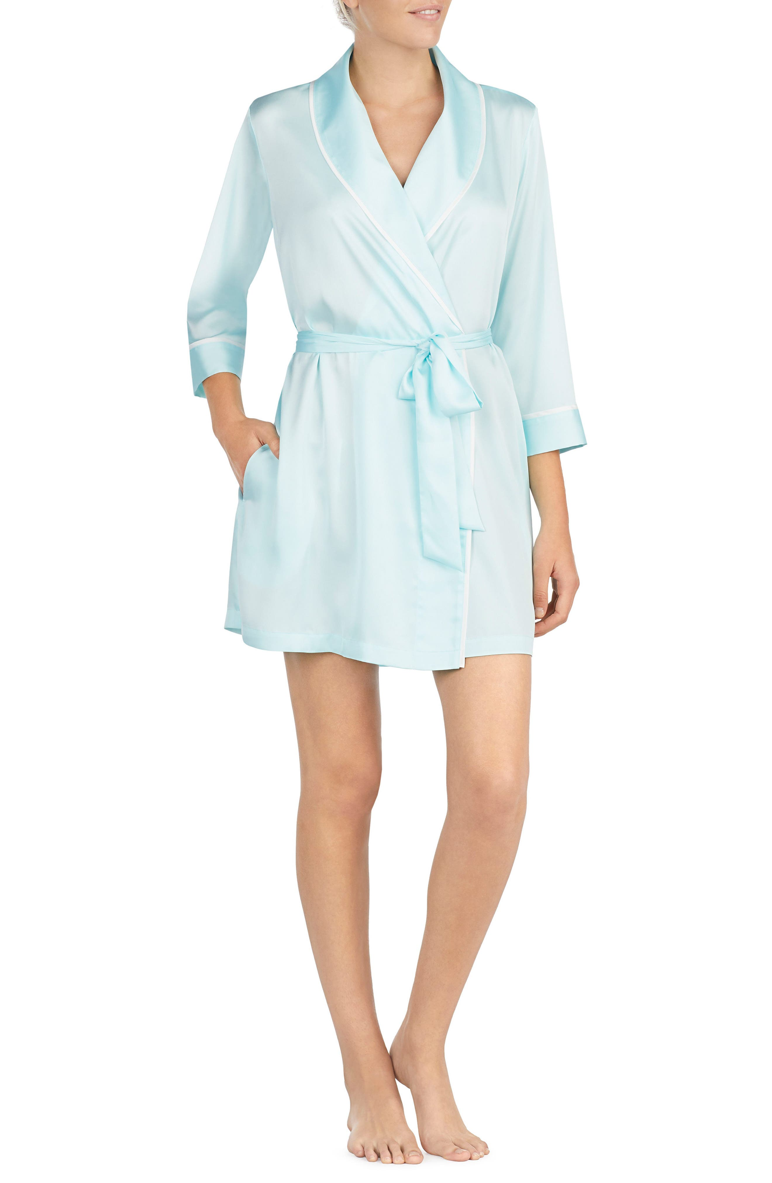 happily ever after charmeuse short robe,                         Main,                         color, Air