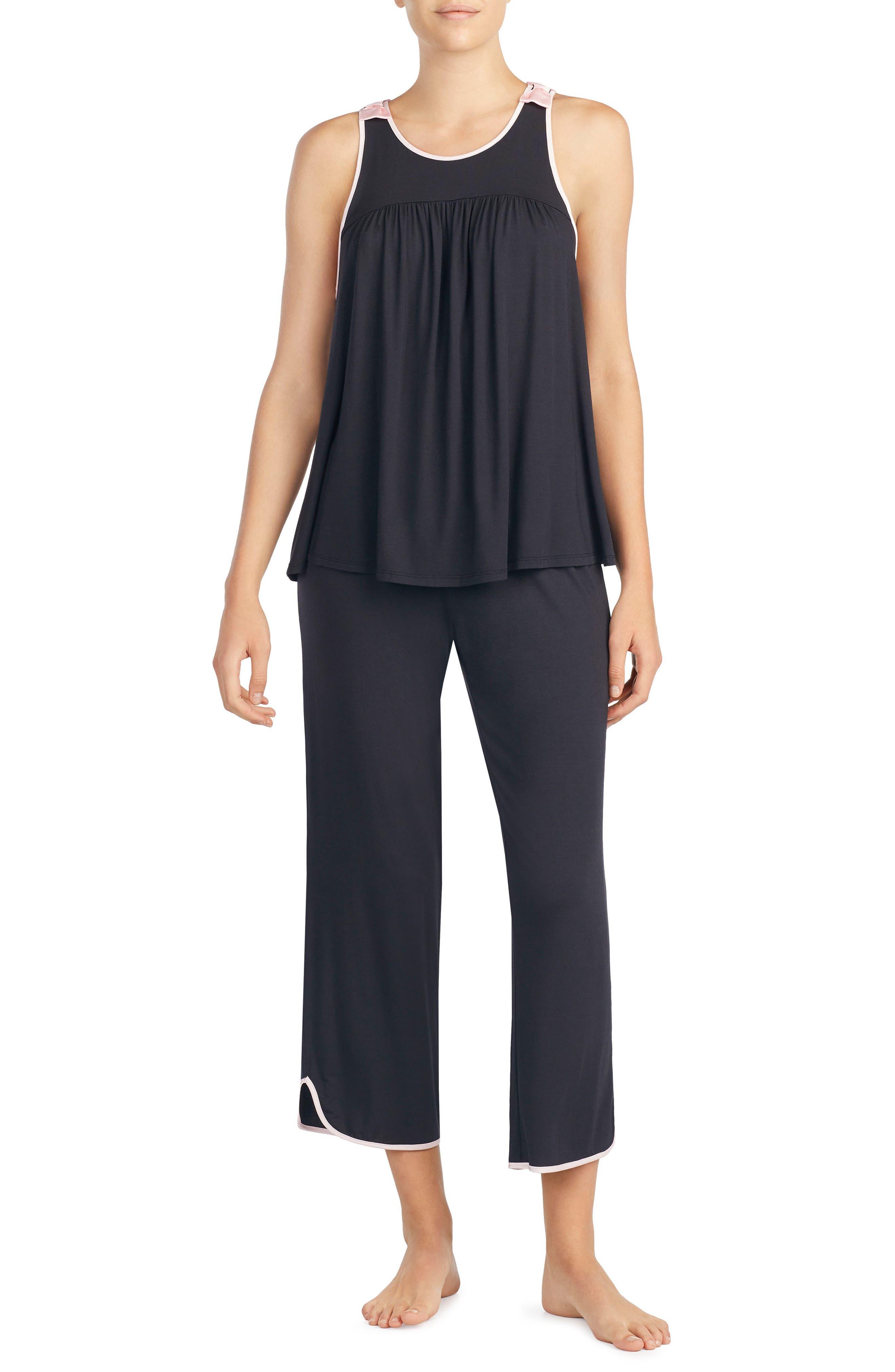 crop jersey pajamas,                             Main thumbnail 1, color,                             Black