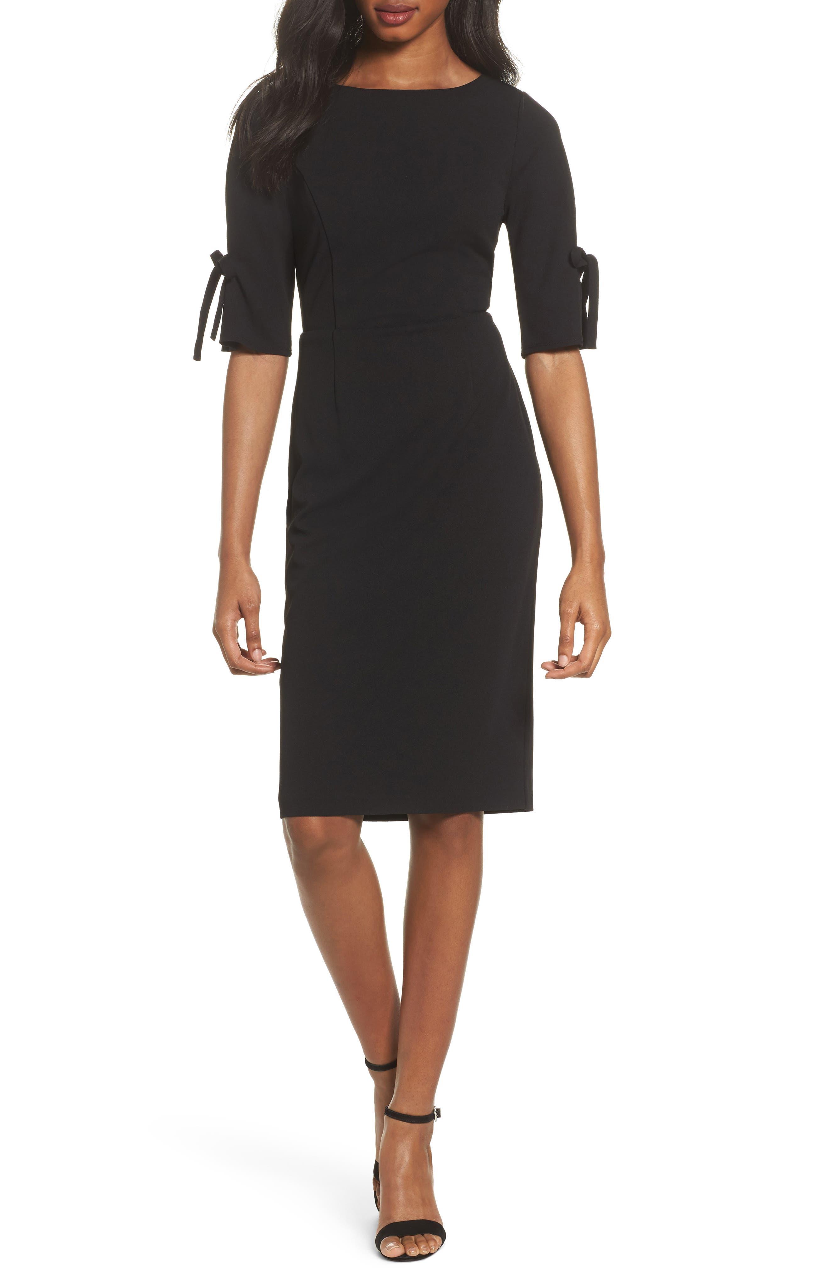 Tie Sleeve Sheath Dress,                             Main thumbnail 1, color,                             Black