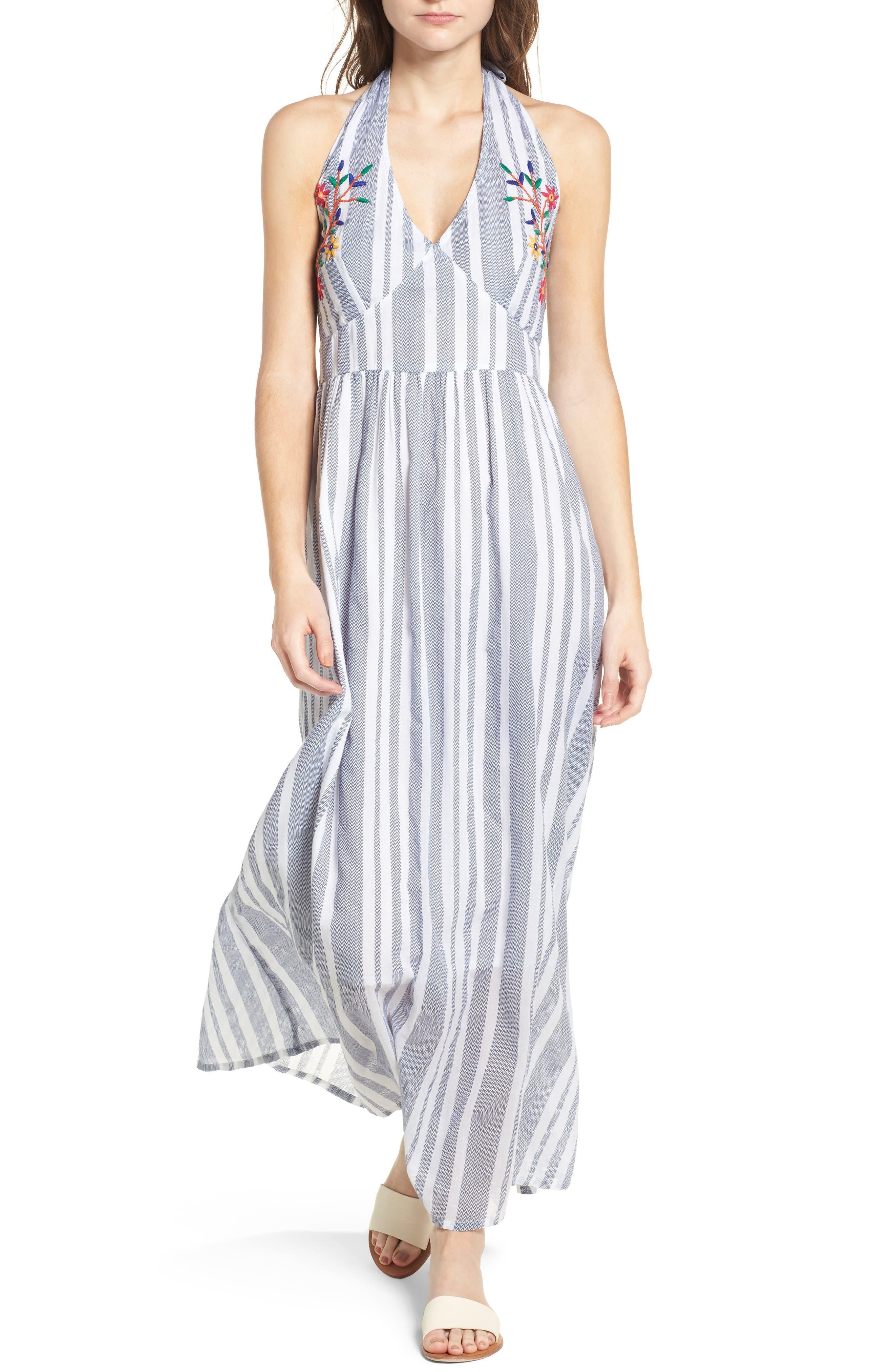 Setting Sail Stripe Maxi Dress,                             Main thumbnail 1, color,                             Blue/ White