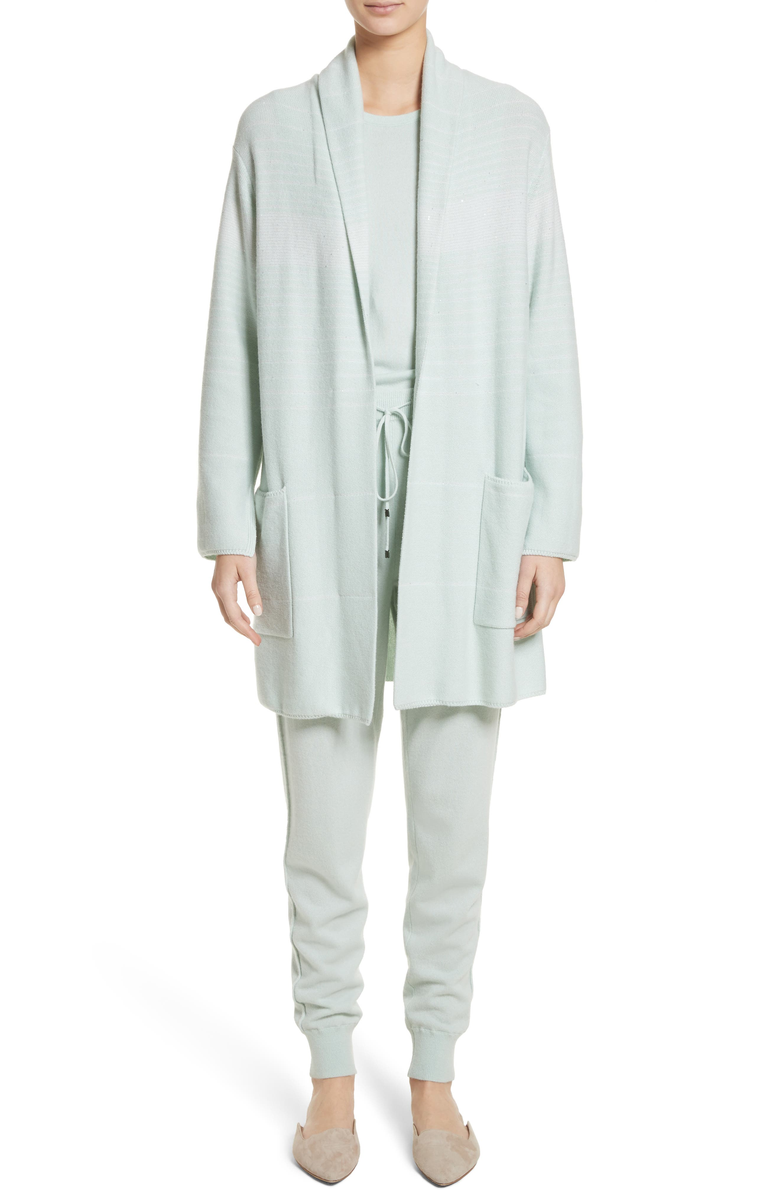 Sequin Cashmere & Silk Cardigan,                             Alternate thumbnail 8, color,                             Mint/ Cream