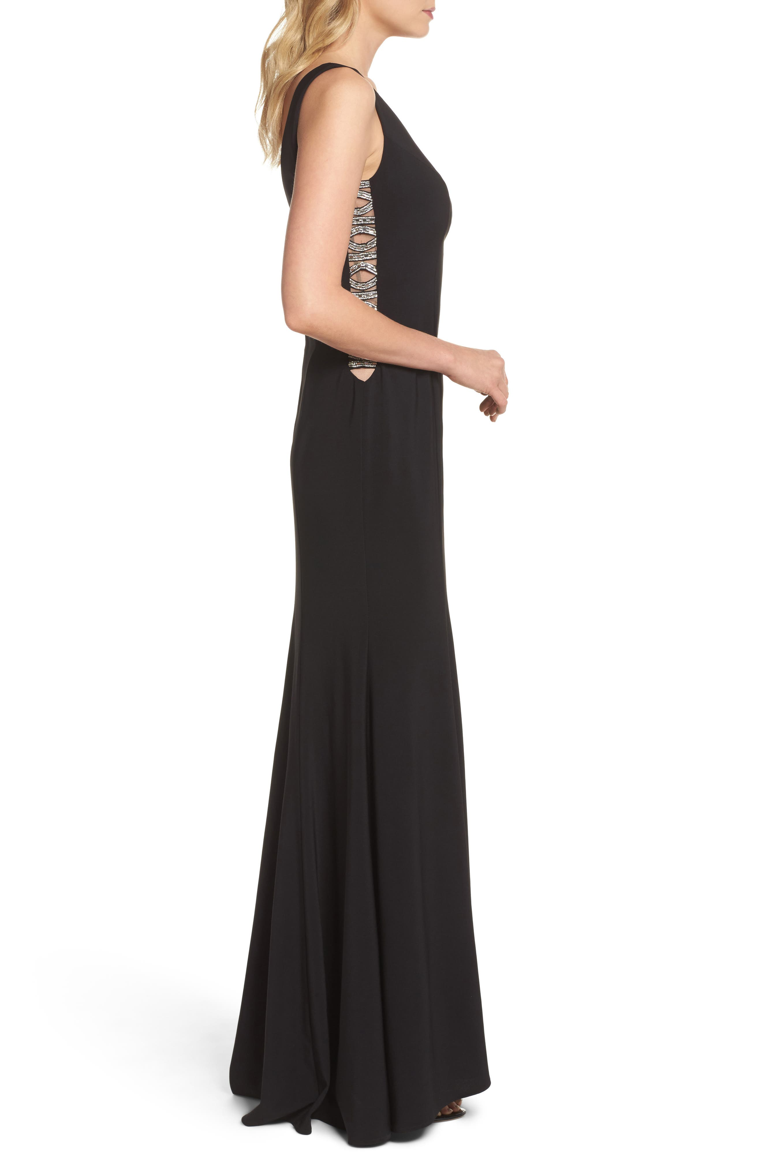Sequin Side Gown,                             Alternate thumbnail 3, color,                             Black
