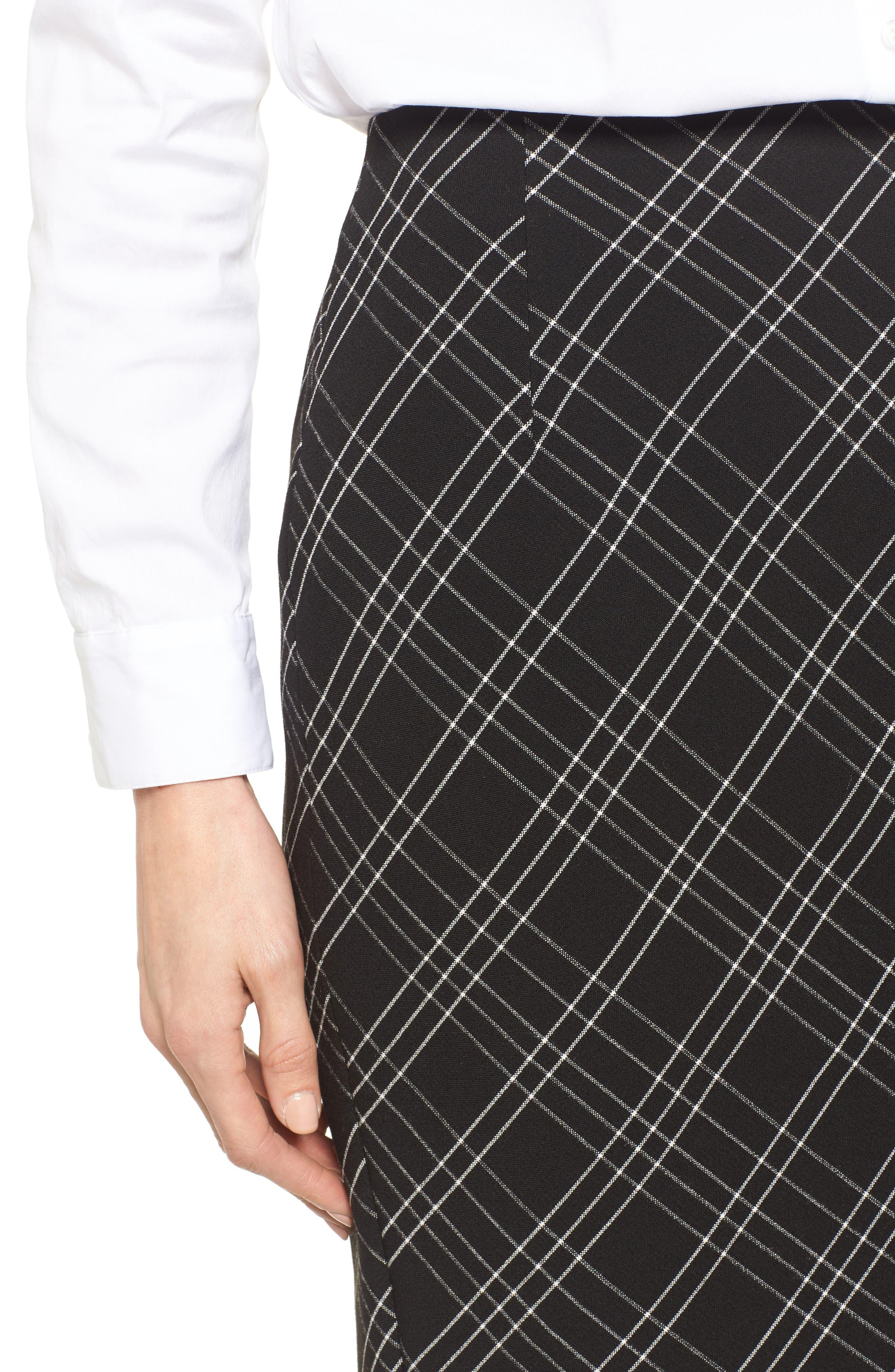 Plaid Pencil Skirt,                             Alternate thumbnail 4, color,                             Black- White Plaid