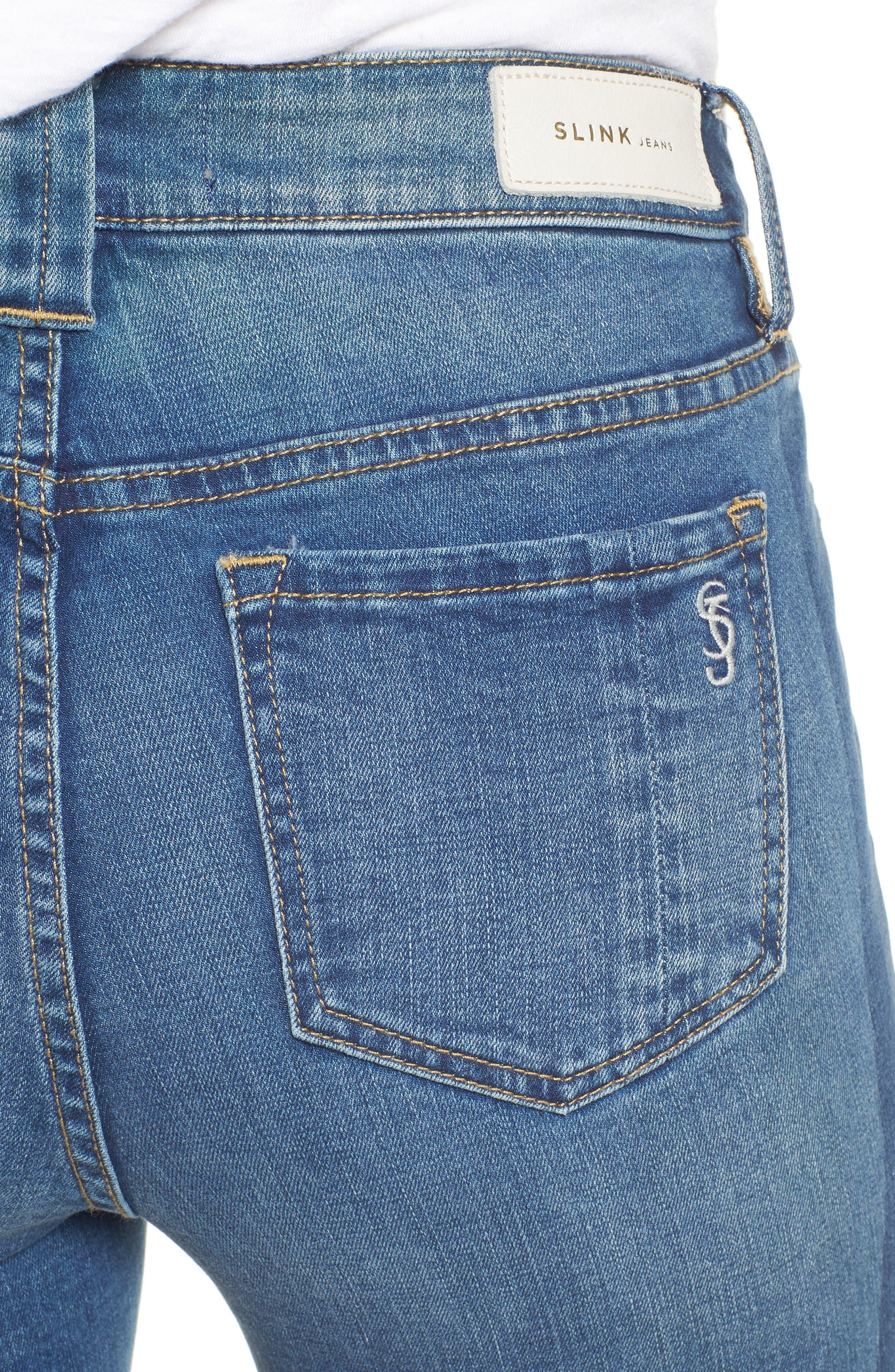 Frayed Hem Ankle Jeans,                             Alternate thumbnail 4, color,                             Gwen