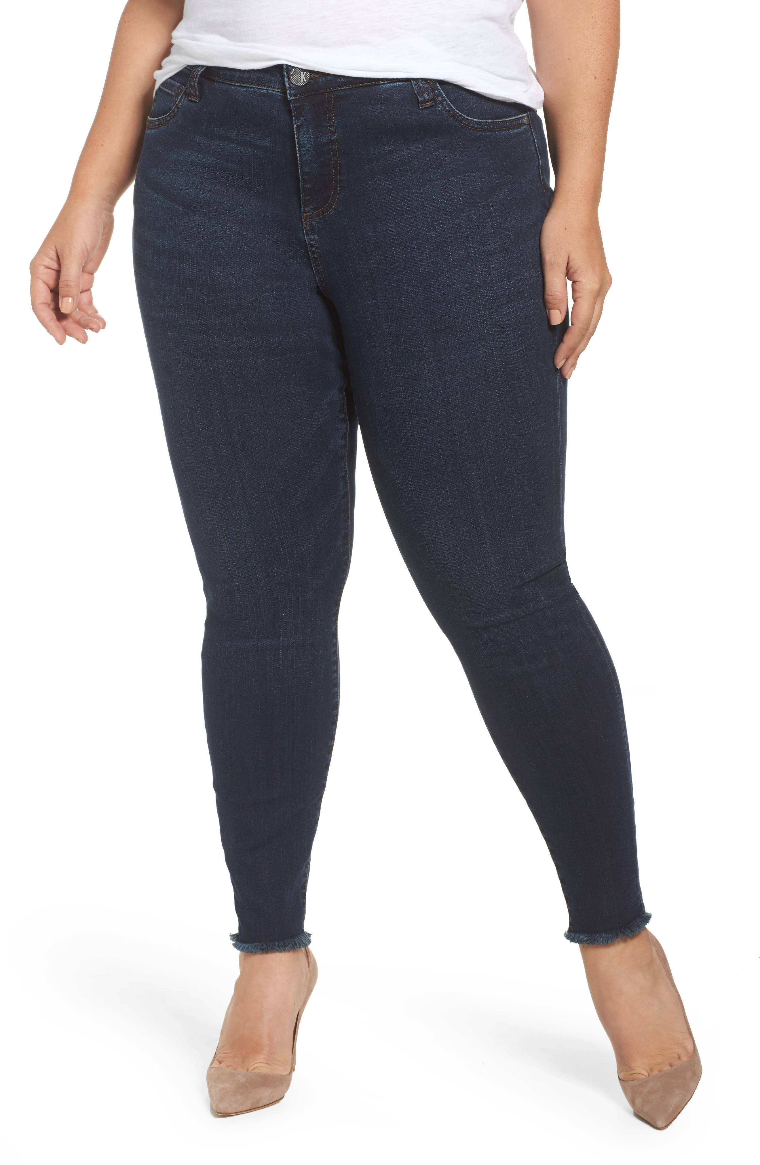 Alternate Image 1 Selected - KUT from the Kloth Donna Frayed Skinny Crop Jeans (Certitude) (Plus Size)
