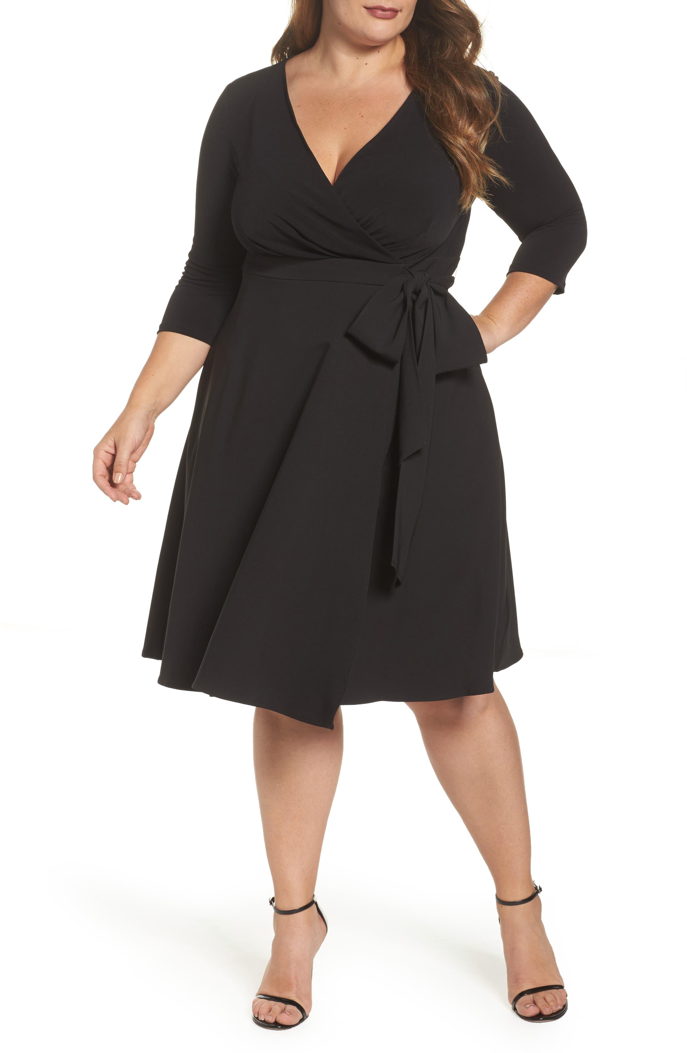 Sangria Mixed Media Faux Wrap Dress (Plus Size)