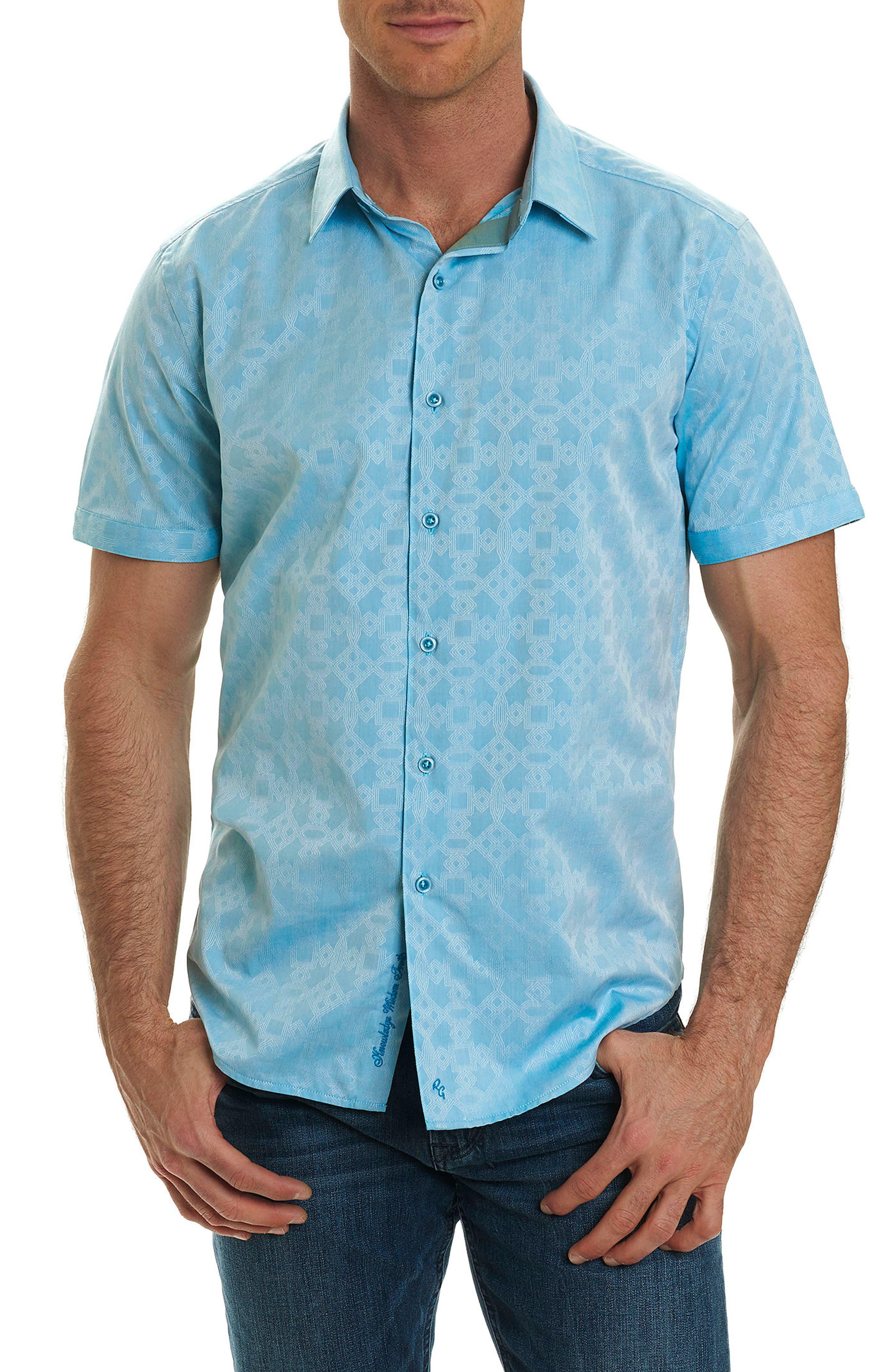 Maya Bay Classic Fit Jacquard Sport Shirt,                         Main,                         color, Turquoise