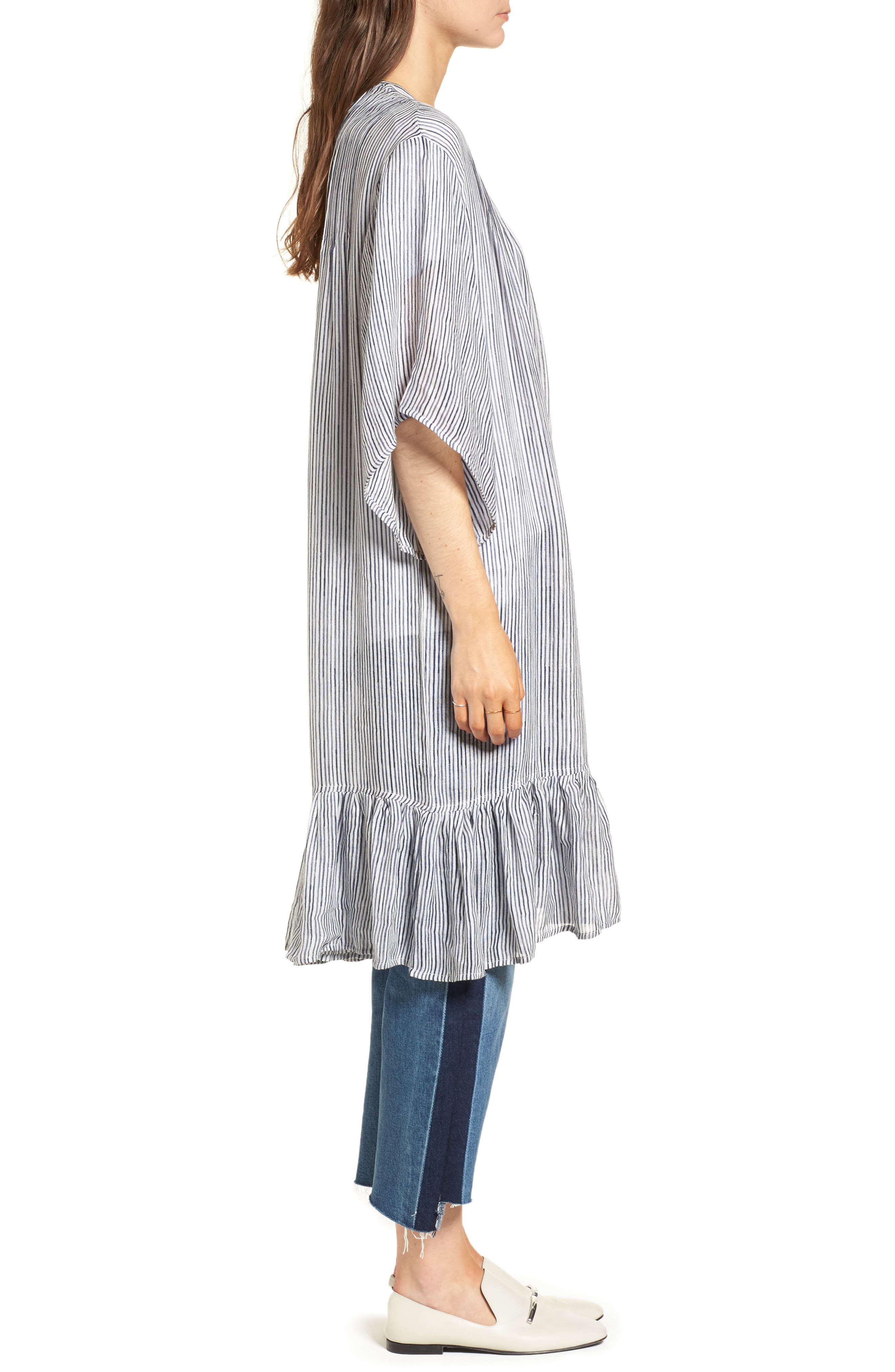 Ruffle Topper,                             Alternate thumbnail 5, color,                             Blue Washed Pinstripe