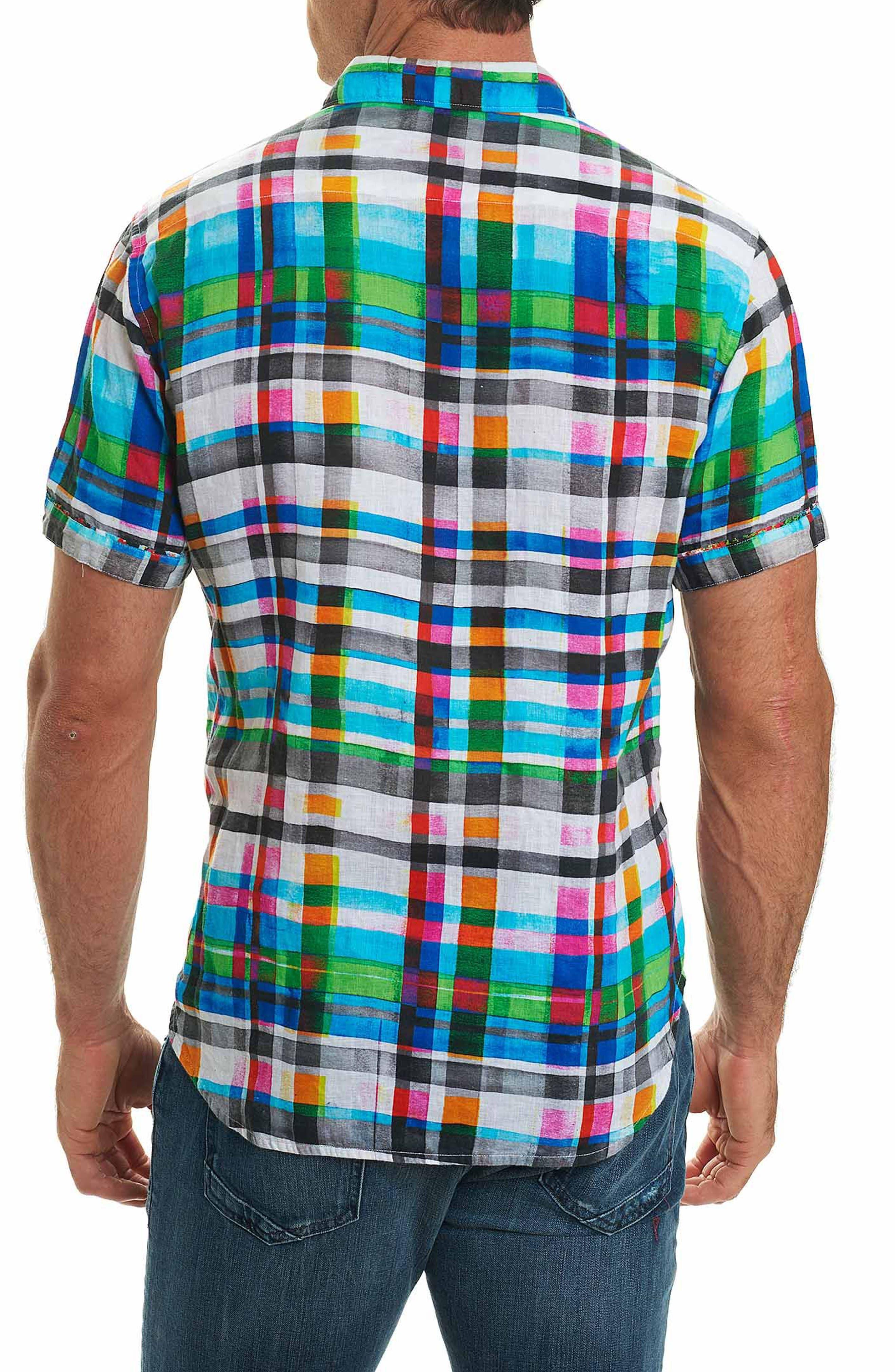 Hula Plaid Classic Fit Linen Sport Shirt,                             Alternate thumbnail 2, color,                             Turquoise