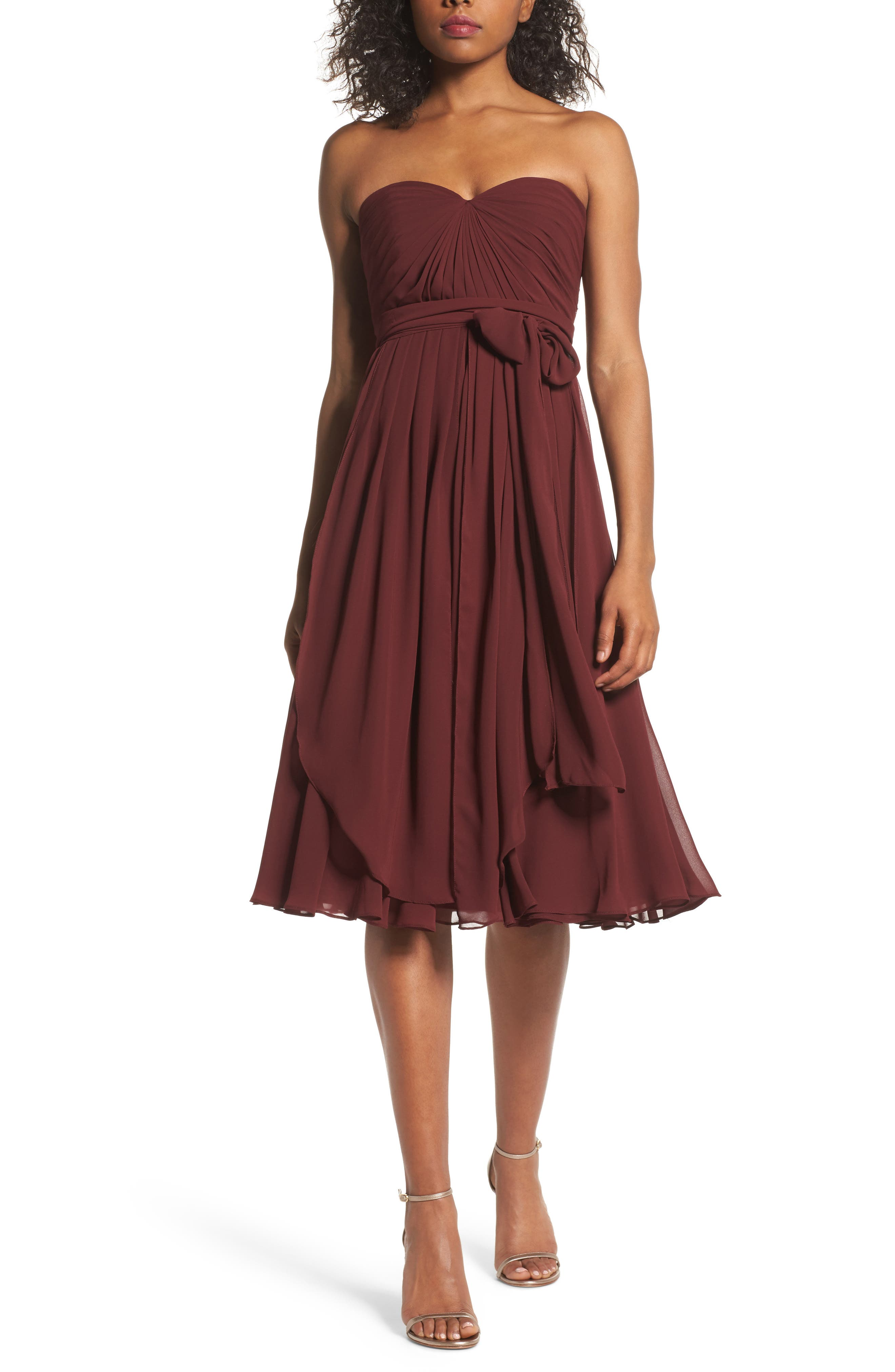 Emmie Convertible Chiffon Tea-Length Dress,                         Main,                         color, Hibiscus