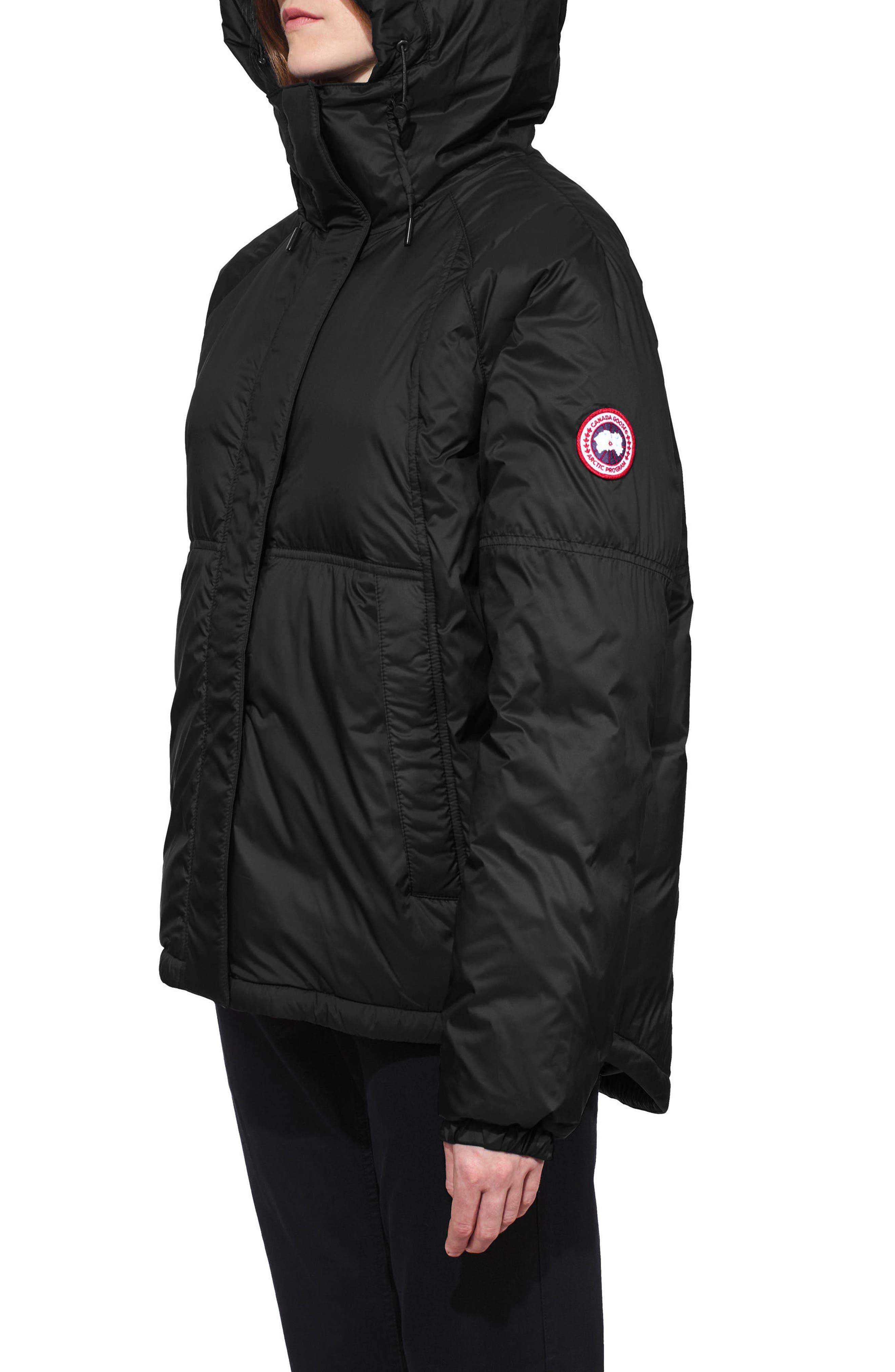Campden Water Resistant Hooded Down Jacket,                             Alternate thumbnail 3, color,                             Black