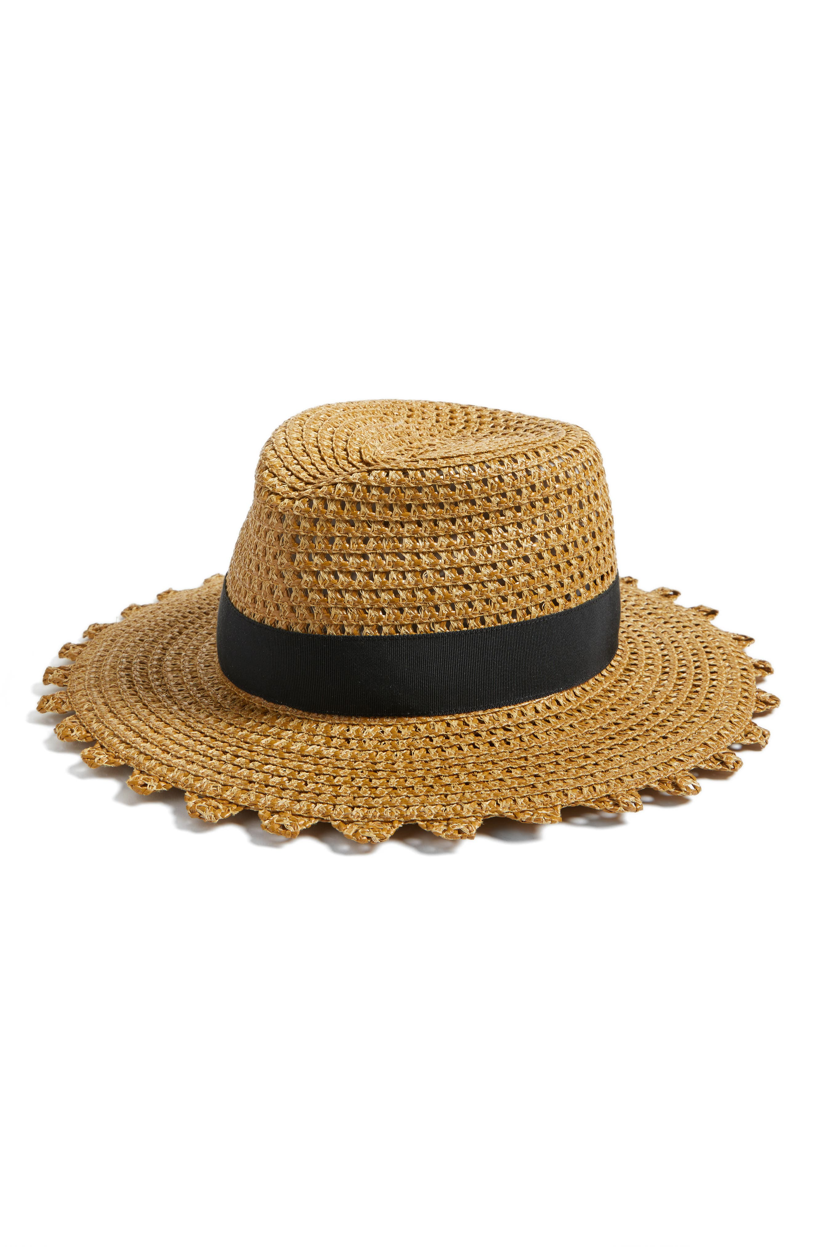 Cannes Squishee<sup>®</sup> Straw Hat,                         Main,                         color, Natural/ Black