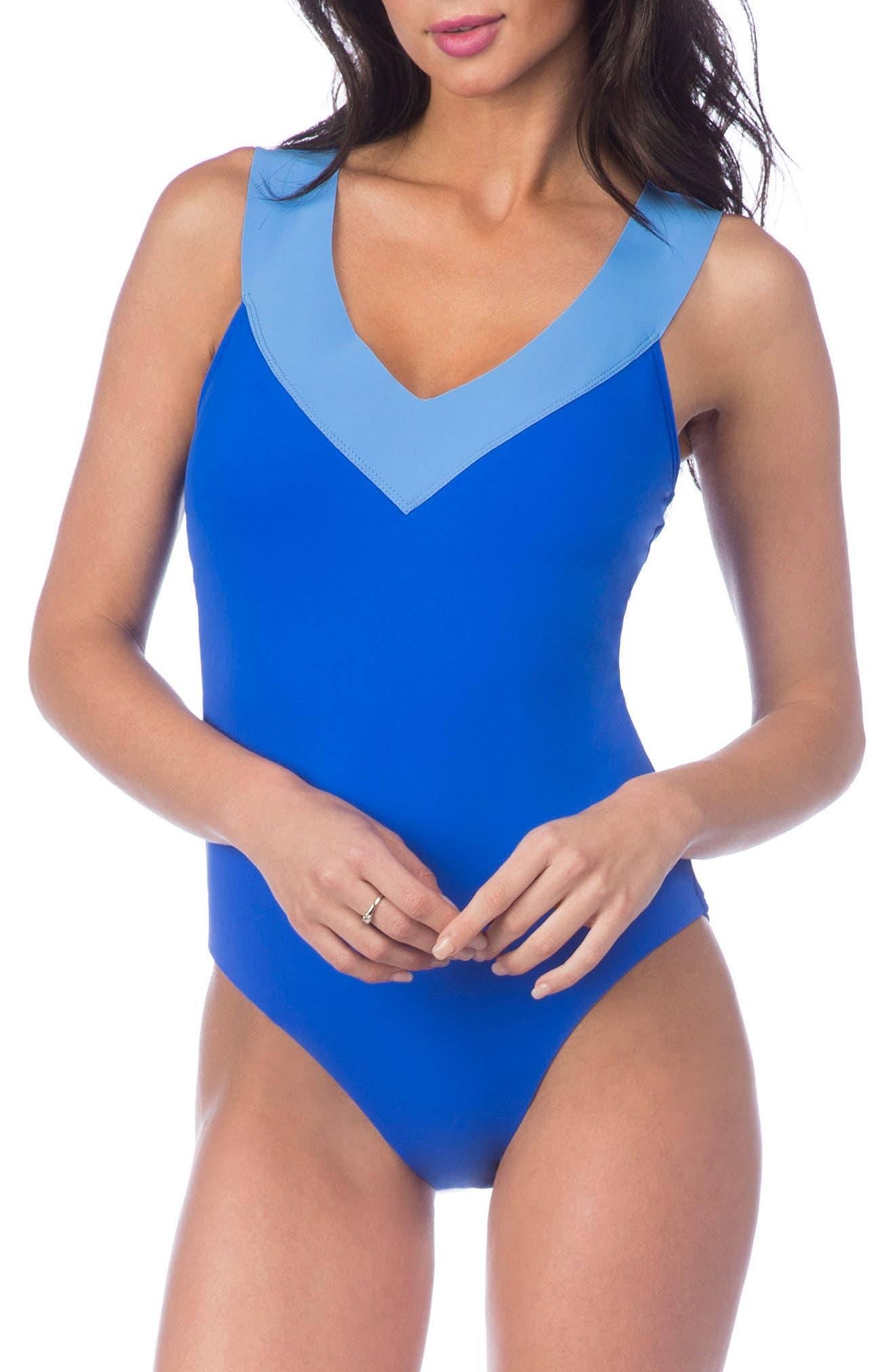 Bondage Cross Back Mio Convertible One-Piece Swimsuit,                         Main,                         color, Apollo Blue/ Blue Suede