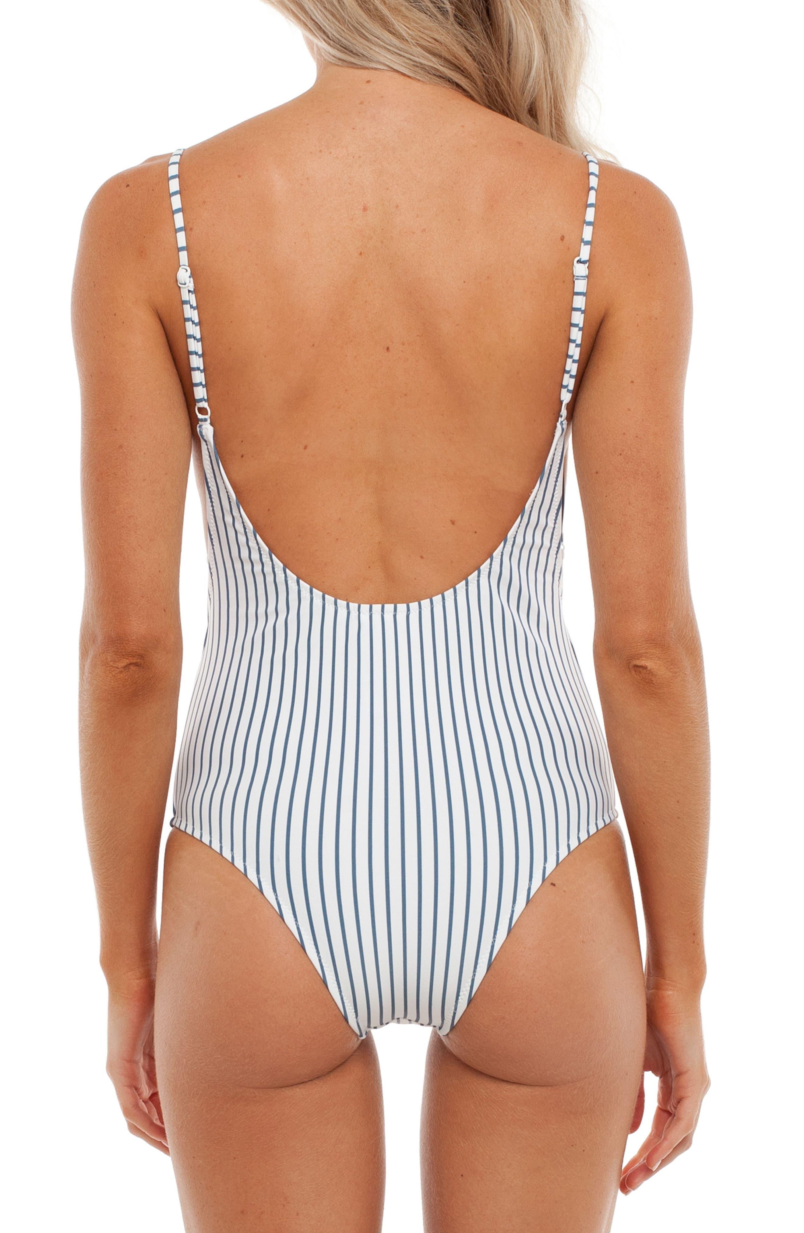 Summer Stripe One-Piece Swimsuit,                             Alternate thumbnail 2, color,                             Malibu