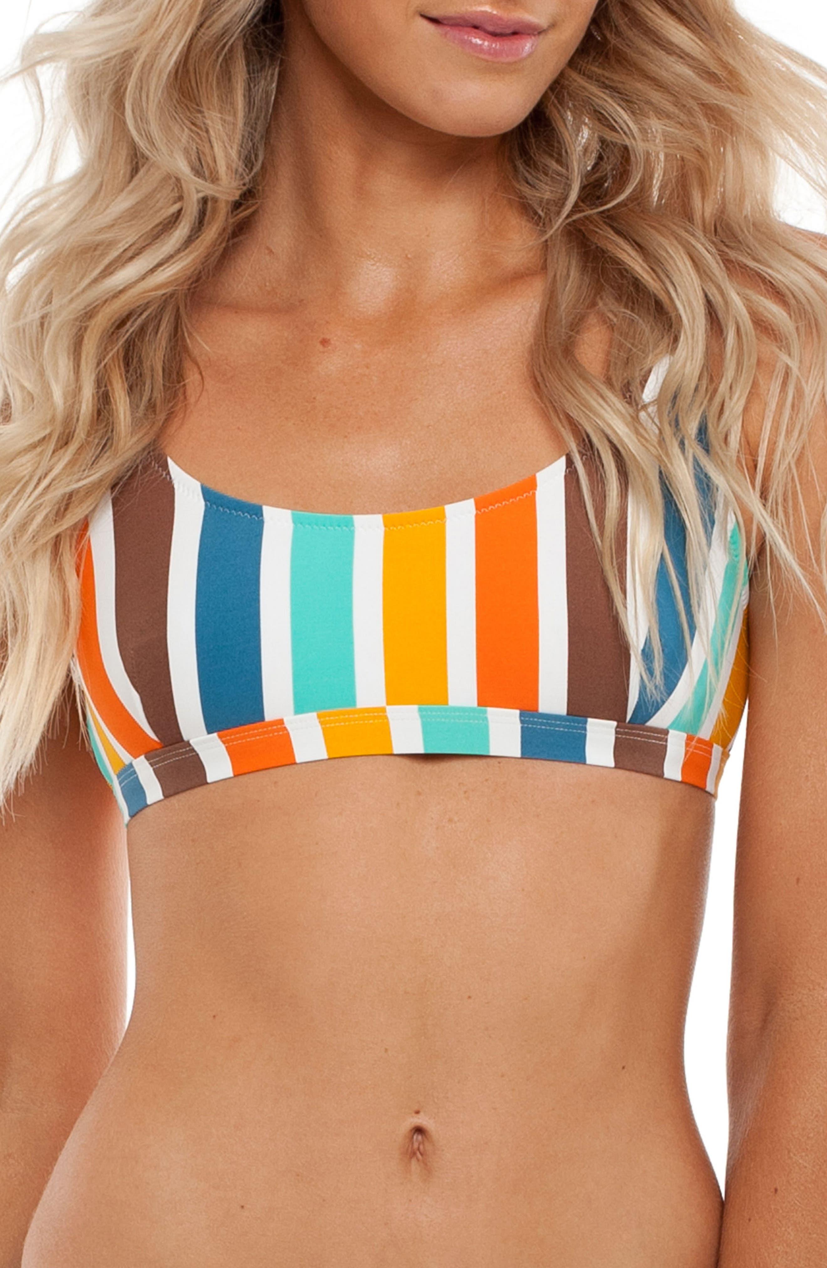 Zimbabwe Scoop Bikini Top,                             Main thumbnail 1, color,                             Tangelo Multi