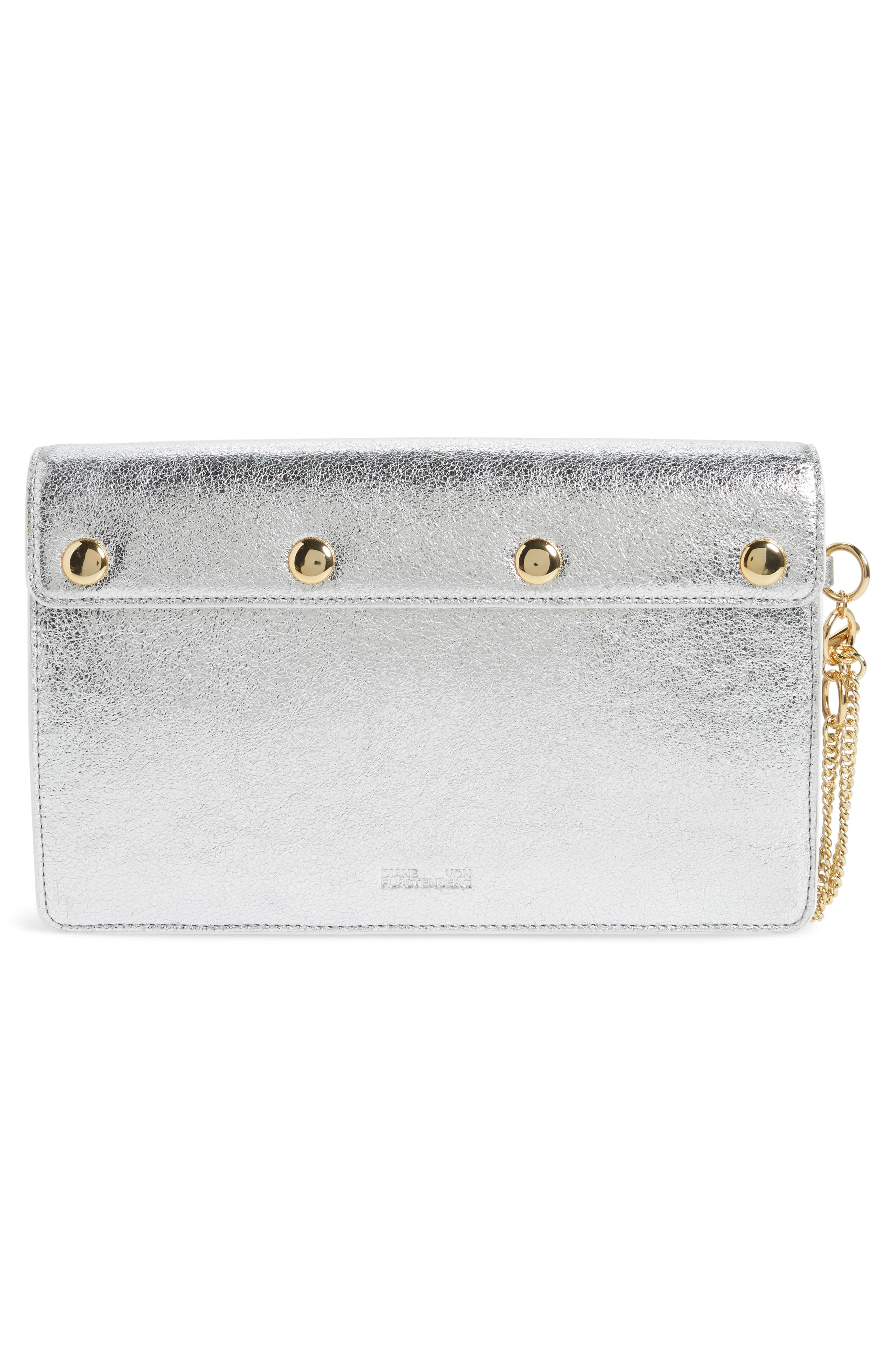 Saddle Leather Clutch,                             Alternate thumbnail 3, color,                             Silver