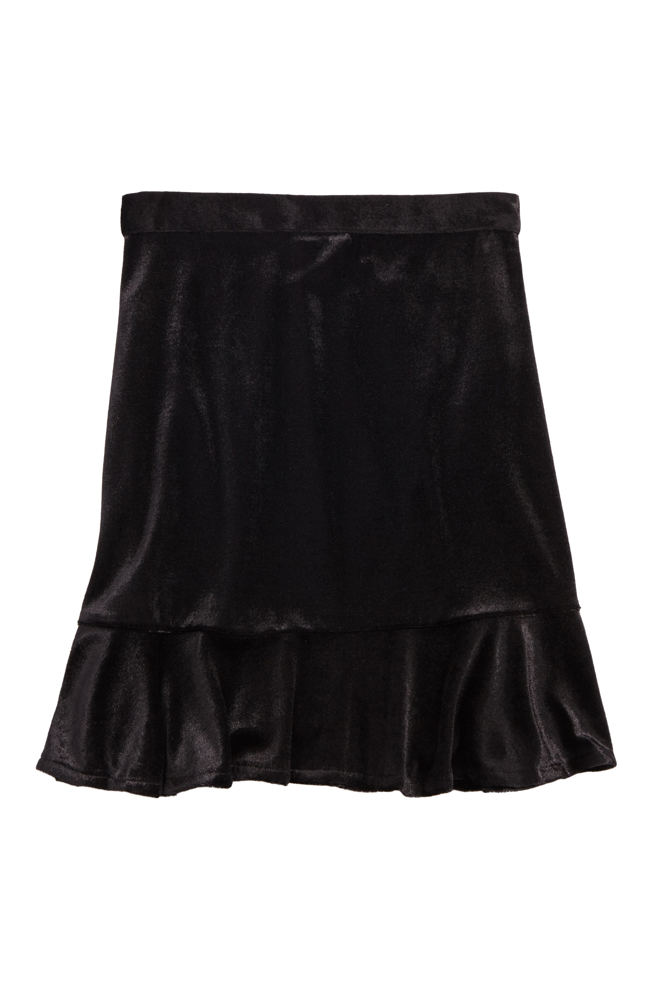 Zoe and Rose Ruffle Hem Velvet Skirt (Big Girls)