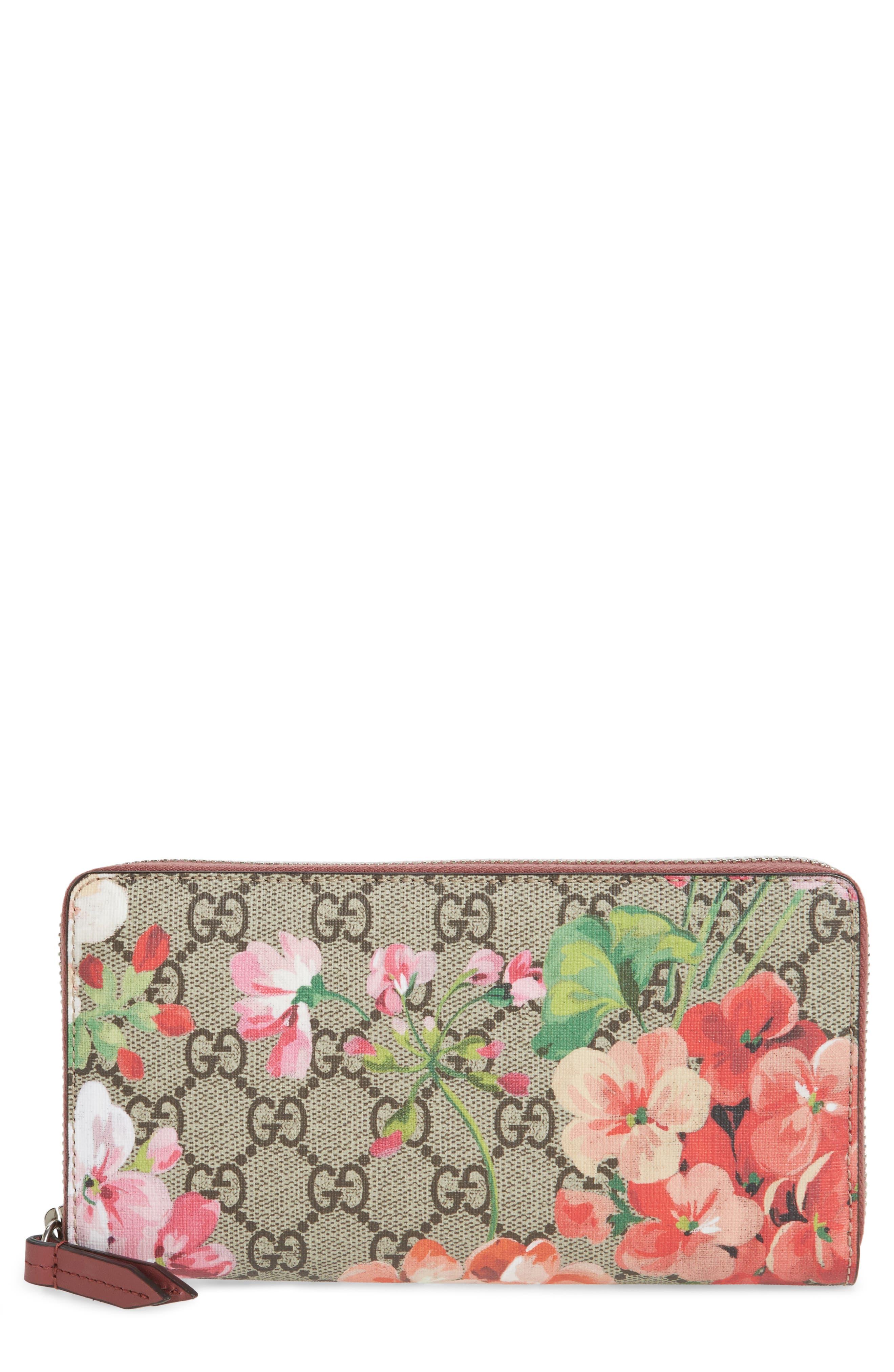 GG Blooms Zip Around Wallet,                             Main thumbnail 1, color,                             Beige Ebony Multi/ Dry Rose