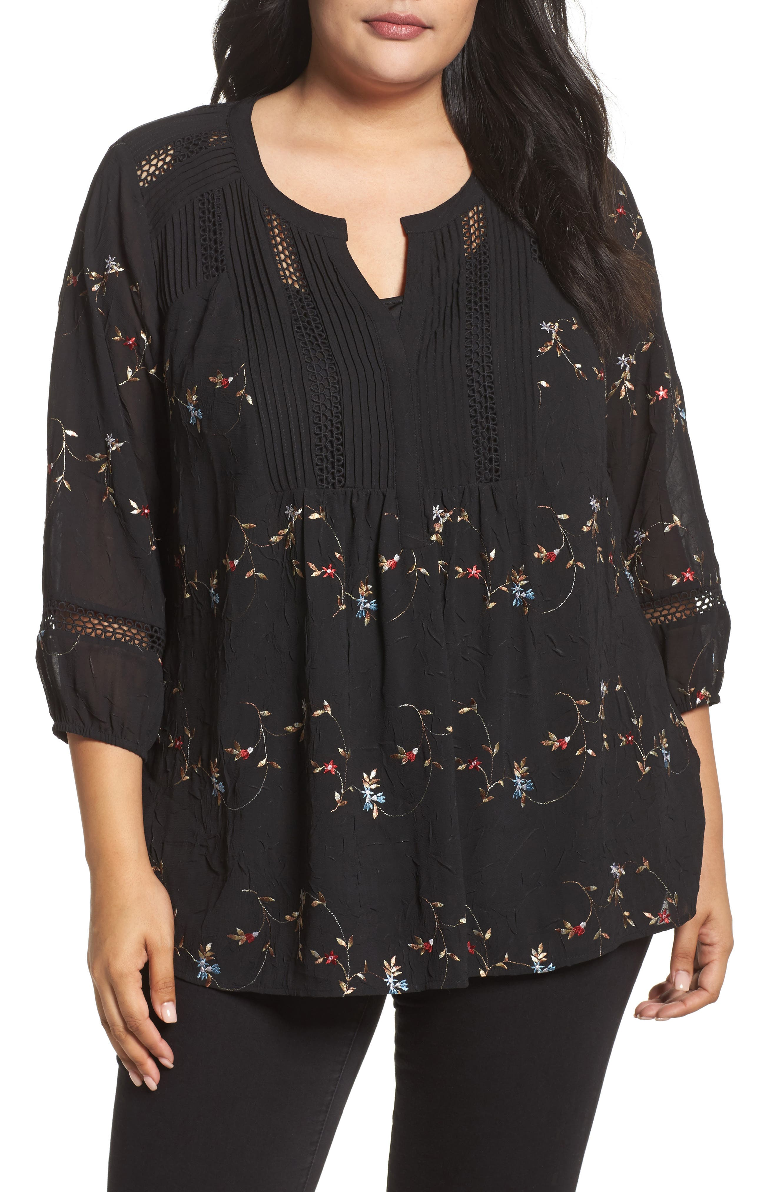 Daniel Rainn Floral Embroidered Top (Plus Size)