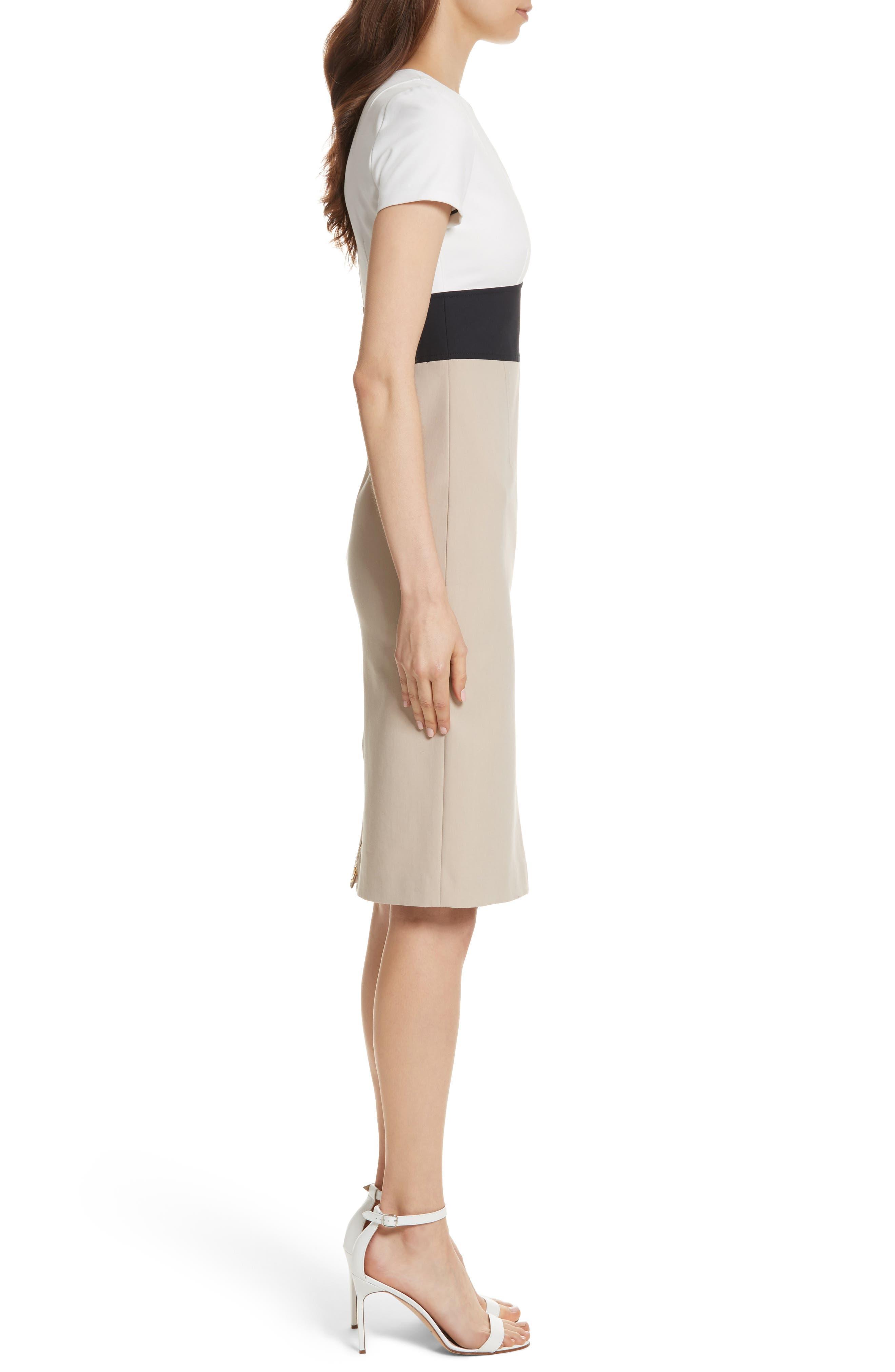 Diane von Furstenberg Colorblock Stretch Cotton Blend Sheath Dress,                             Alternate thumbnail 3, color,                             Sand/ Alexander Navy/ White