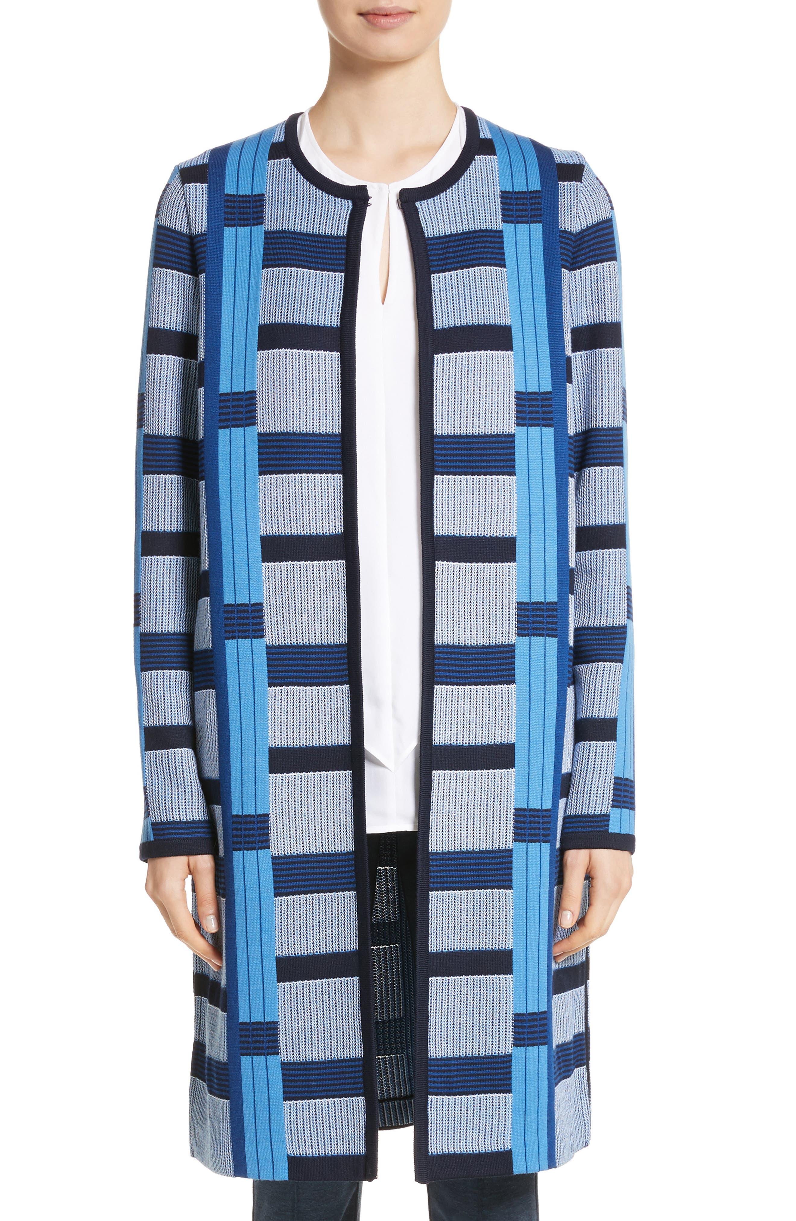 Colorblock Knit Jacket,                             Main thumbnail 1, color,                             Niagara Multi