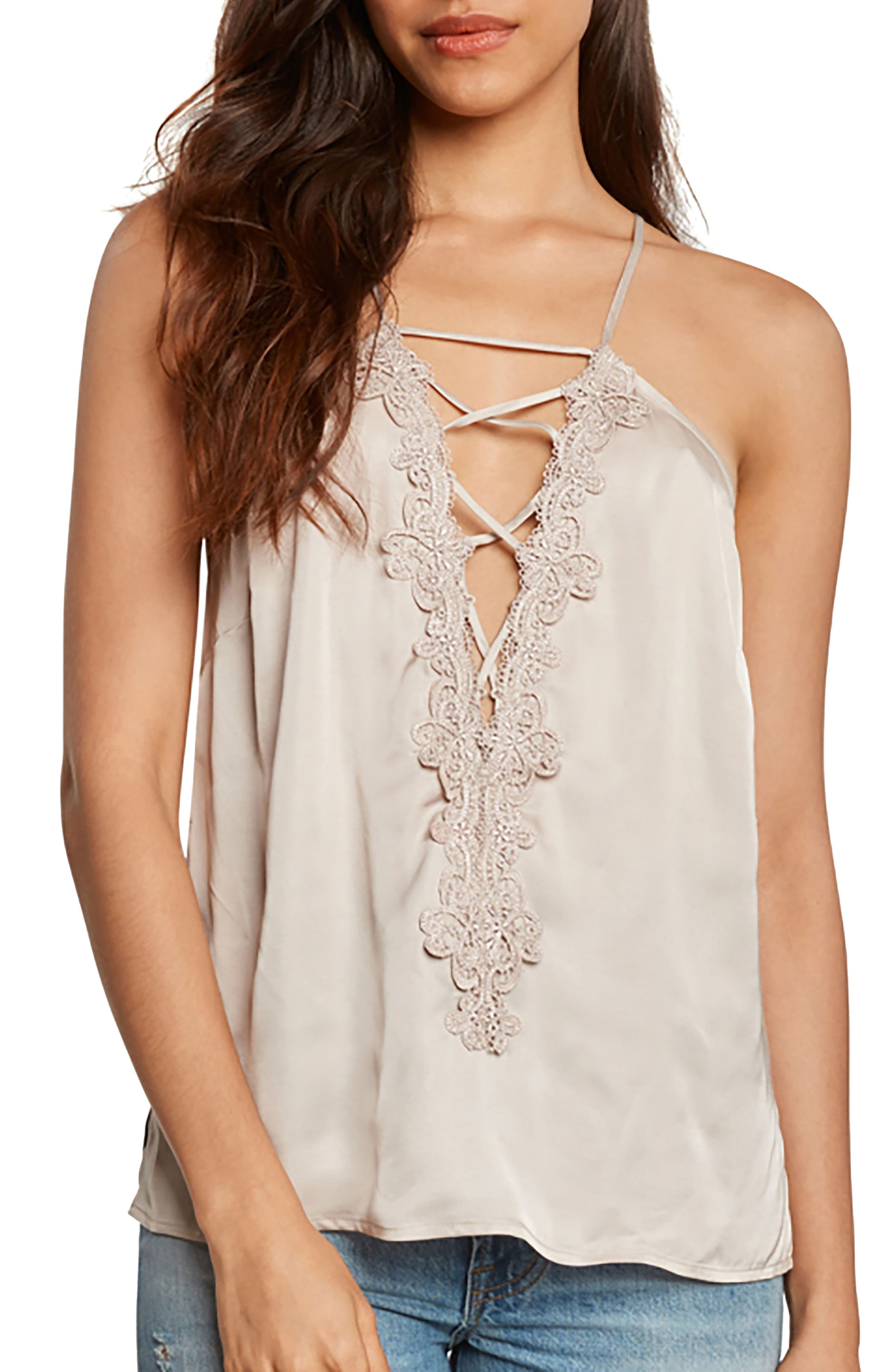 Lace-Up Satin Camisole,                         Main,                         color, Pearl