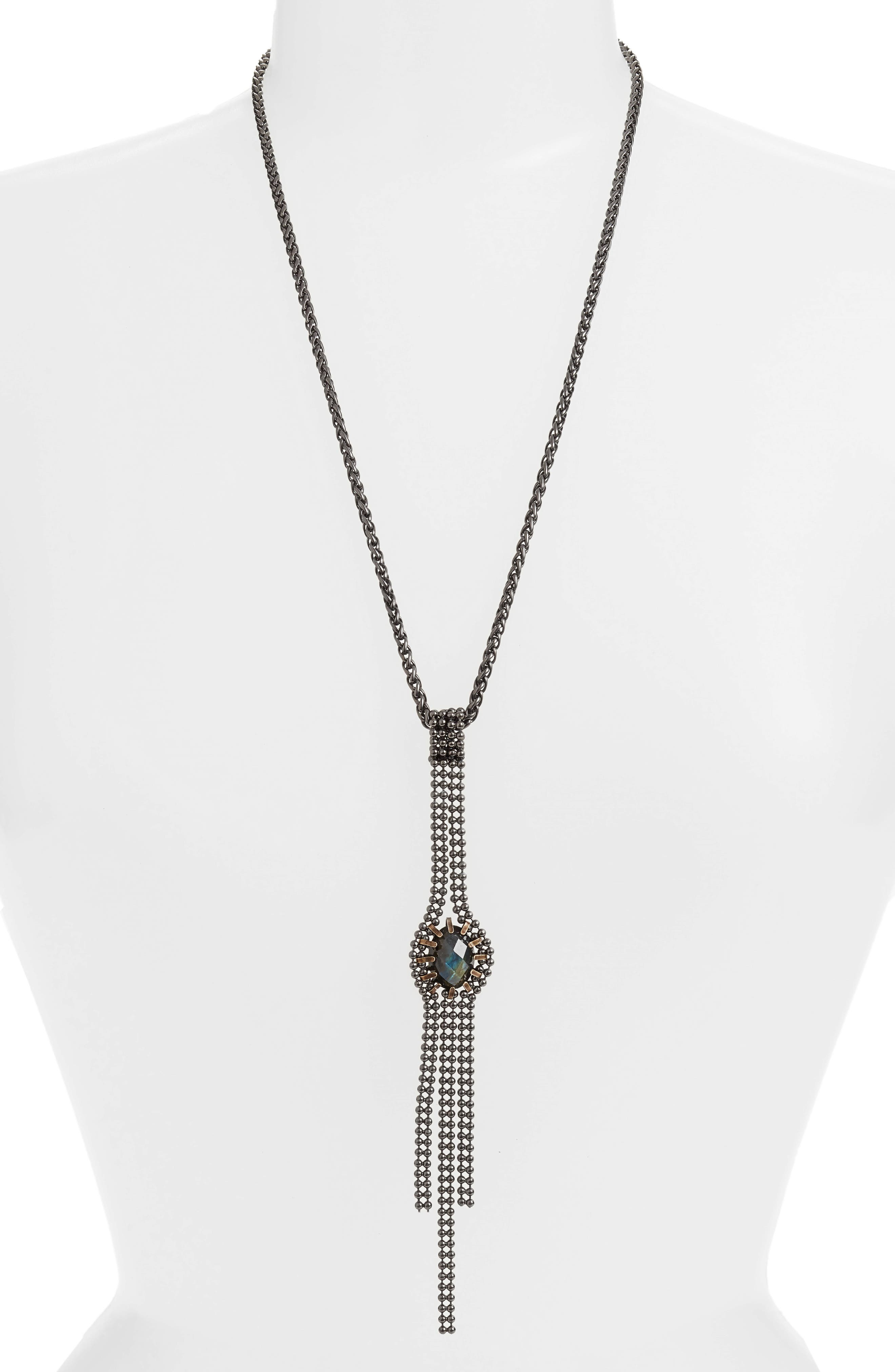 Labradorite Pendant Necklace,                         Main,                         color, Blue/ Green/ Gunmetal
